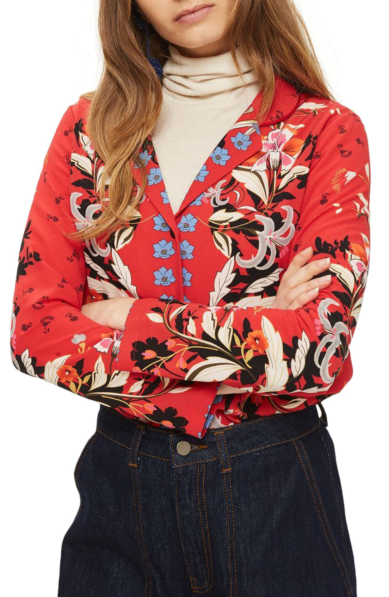 Tiger Lily Shirt,                             Main thumbnail 1, color,                             Red Multi