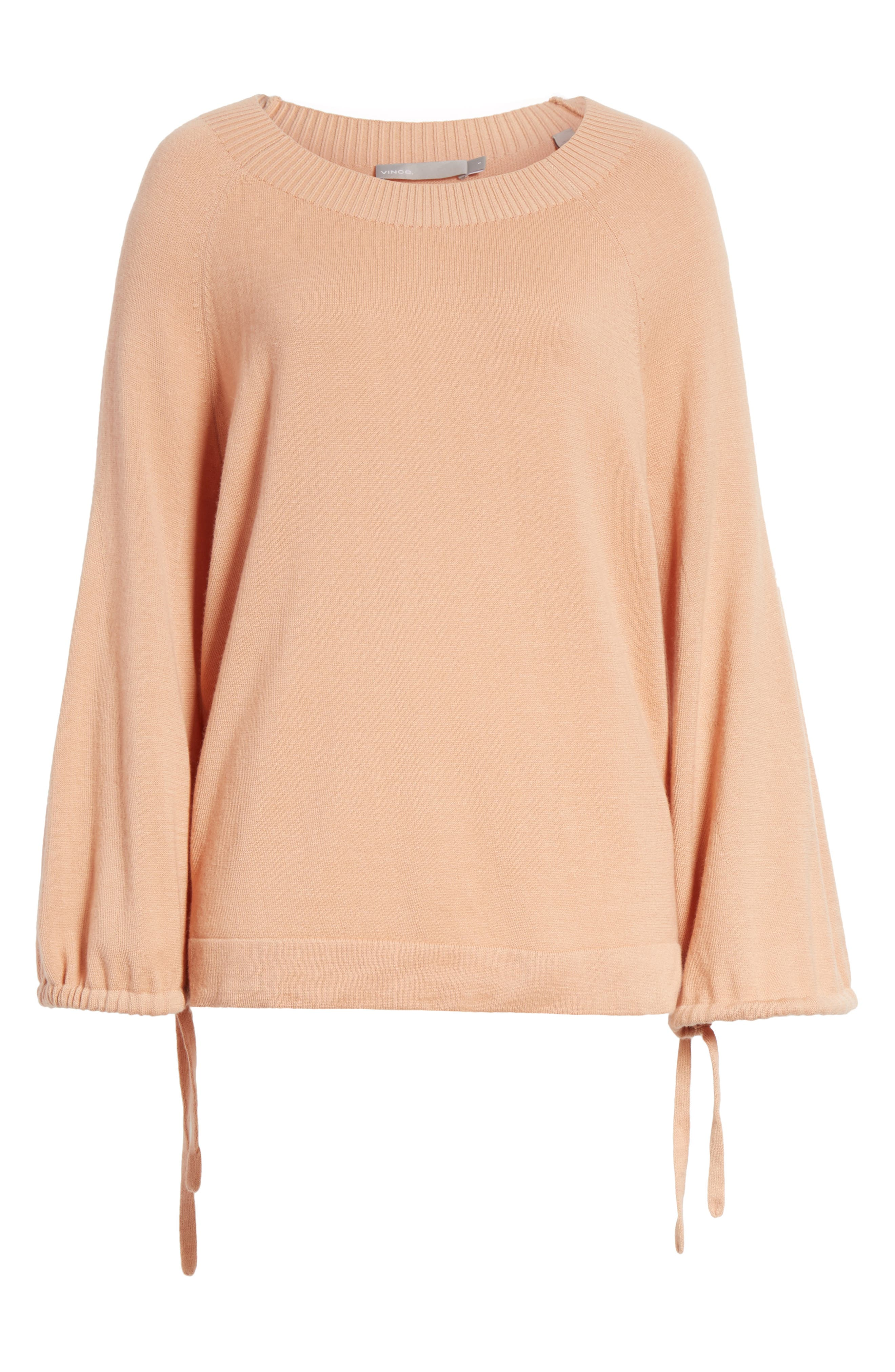 Scrunch Sleeve Cashmere Sweater,                             Alternate thumbnail 6, color,                             Blush