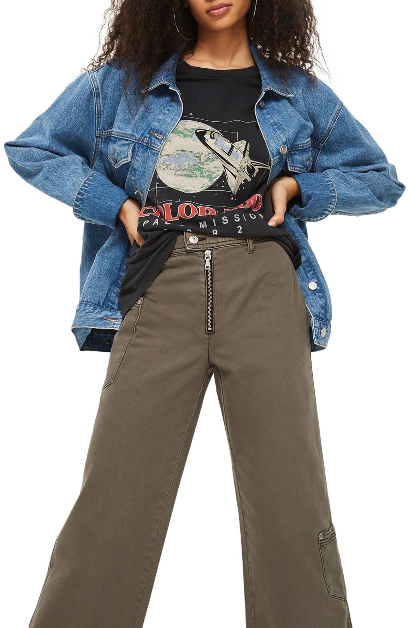 Main Image - Topshop Wide Leg Crop Utility Jeans