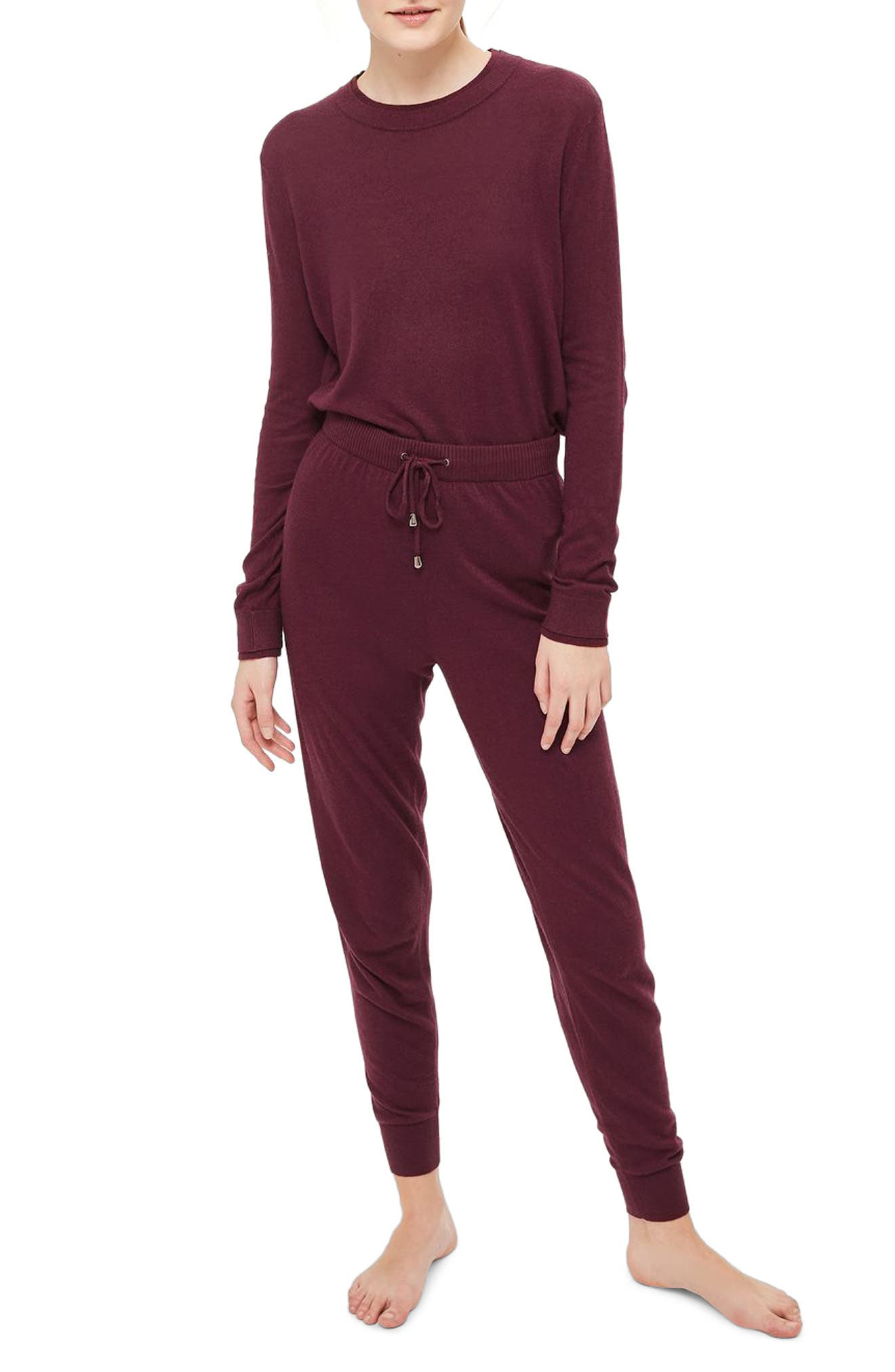 Jogger Lounge Pants,                         Main,                         color, Berry Red