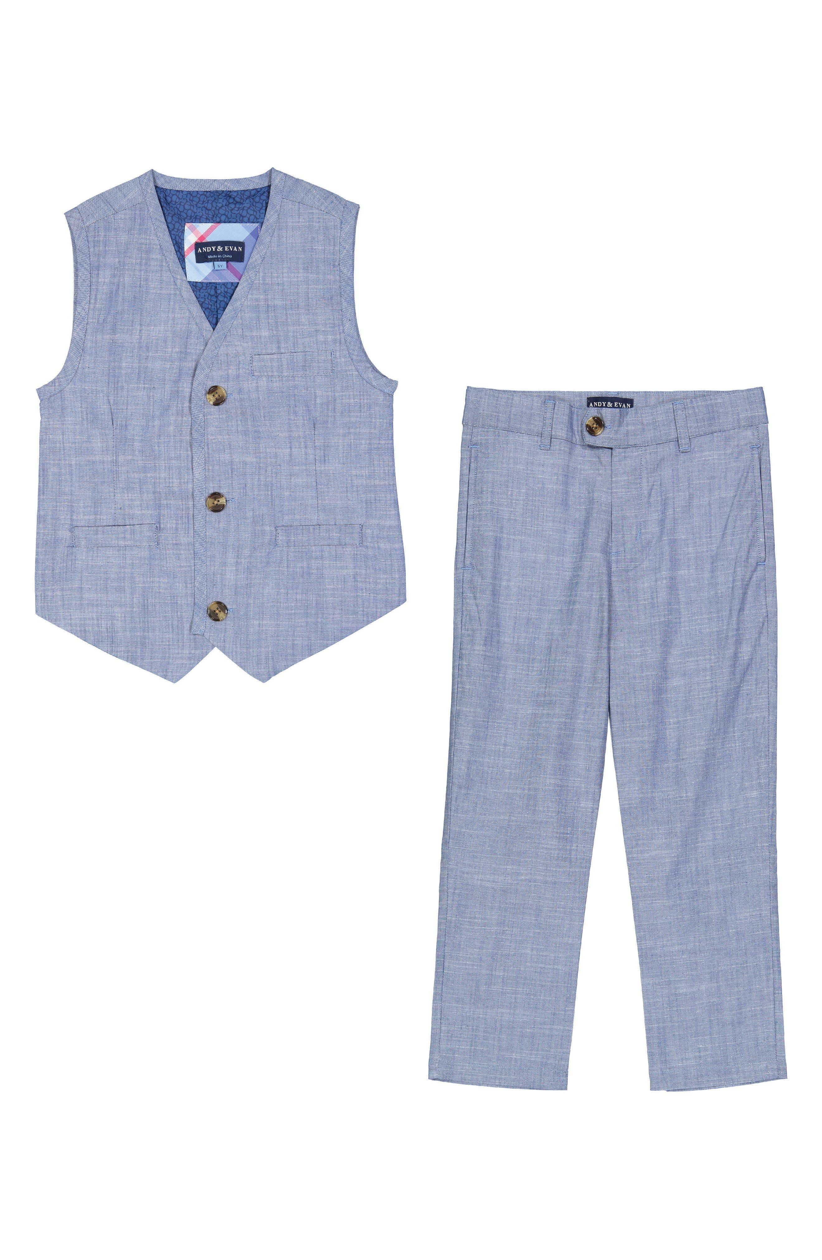 Chambray Vest & Pants Set,                             Main thumbnail 1, color,                             Blue