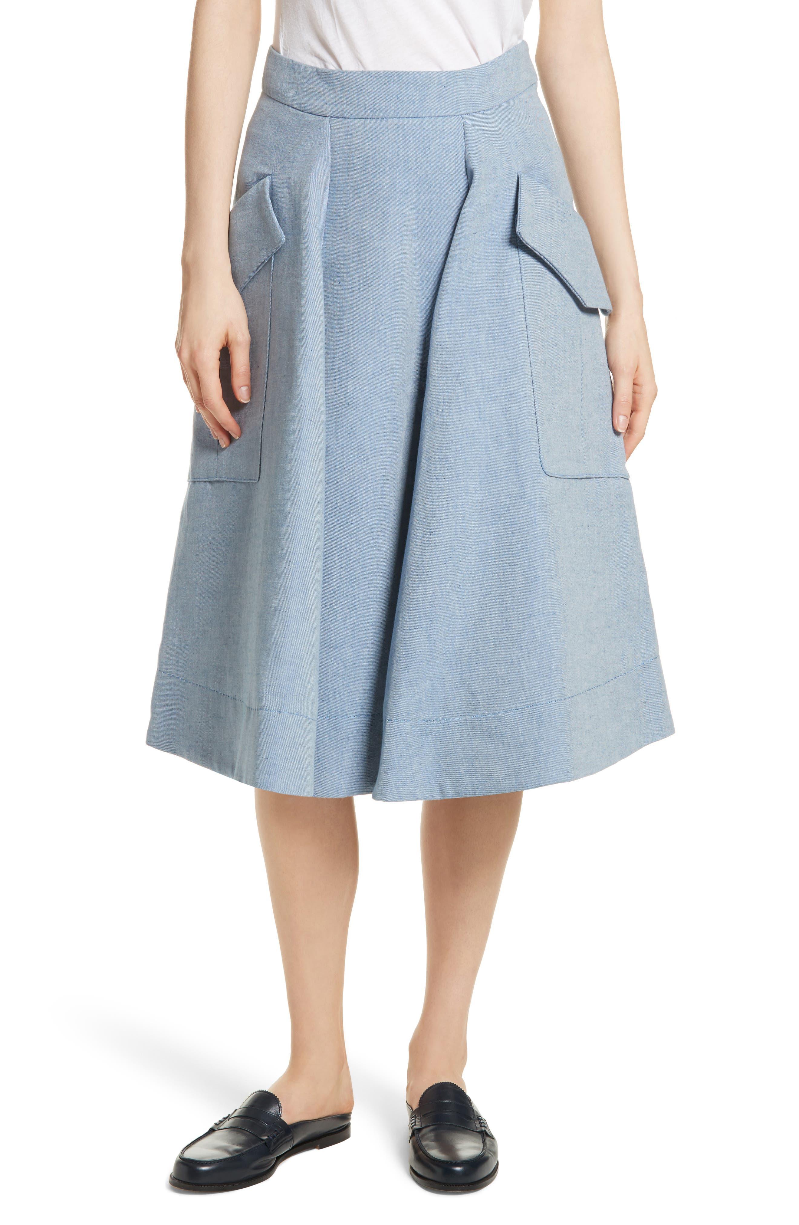 Jupe Genou Skirt,                         Main,                         color, Bleu Acier