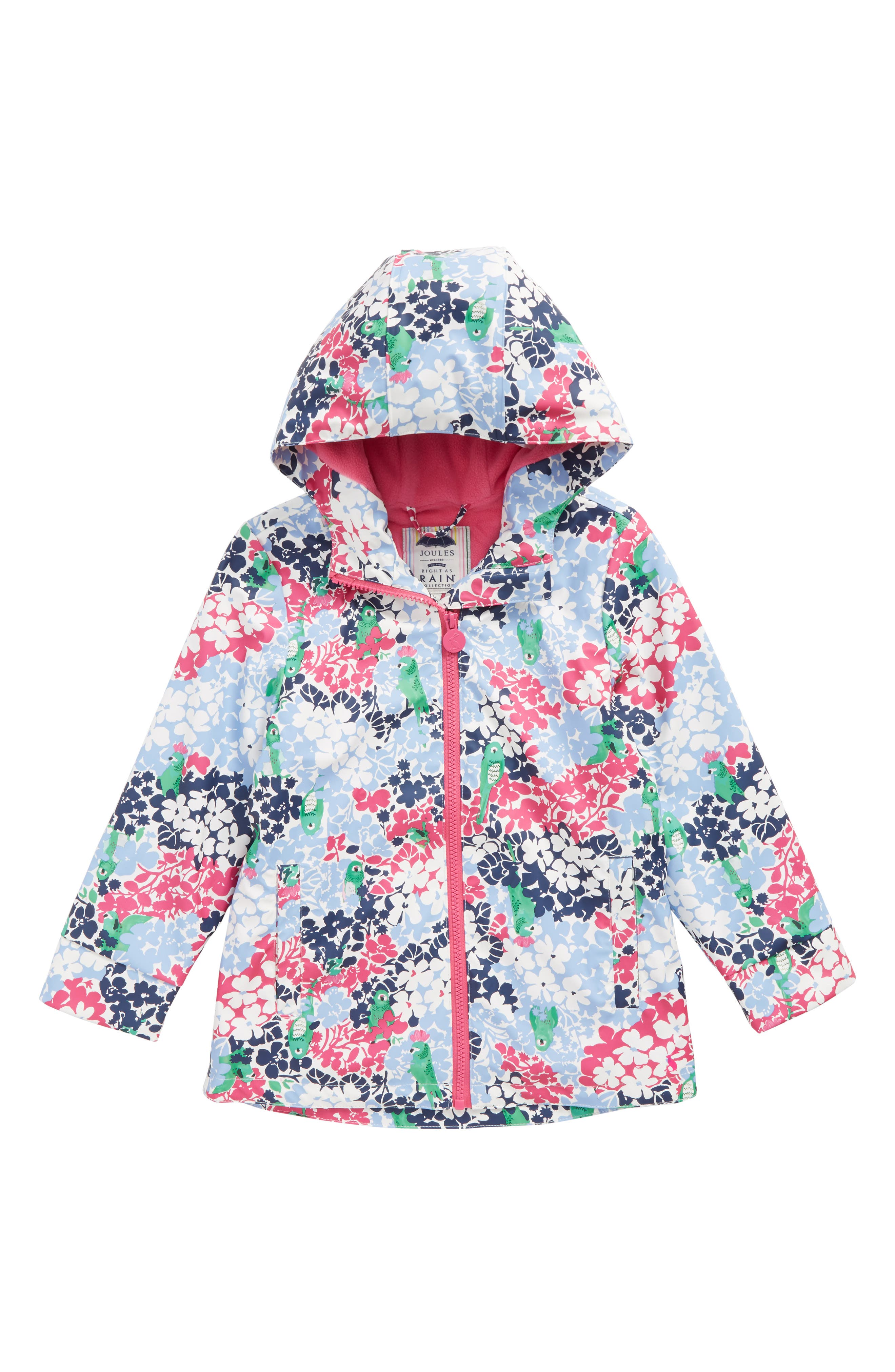 Fleece Lined Rain Jacket,                         Main,                         color, Parakeet Ditsy
