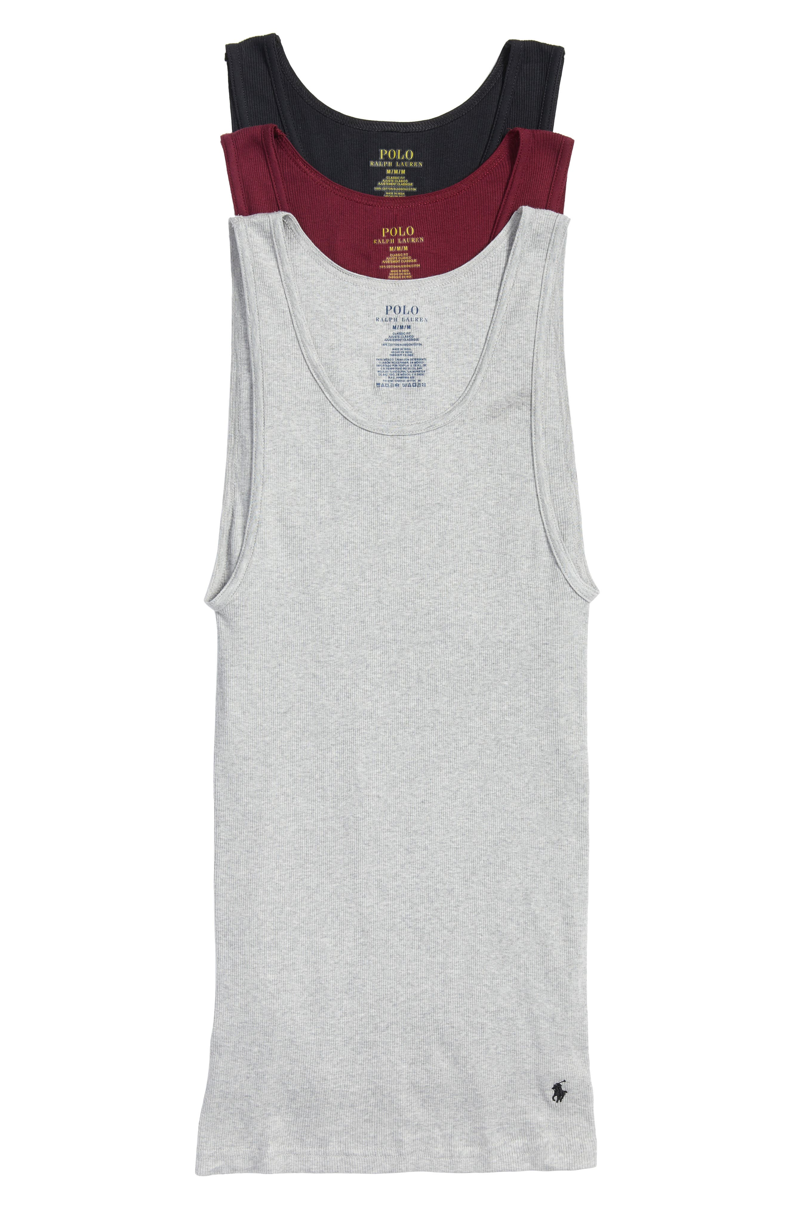 Ralph Lauren 3-Pack Classic Ribbed Tank Tops,                             Main thumbnail 1, color,                             Andover Heather/ Wine/ Black