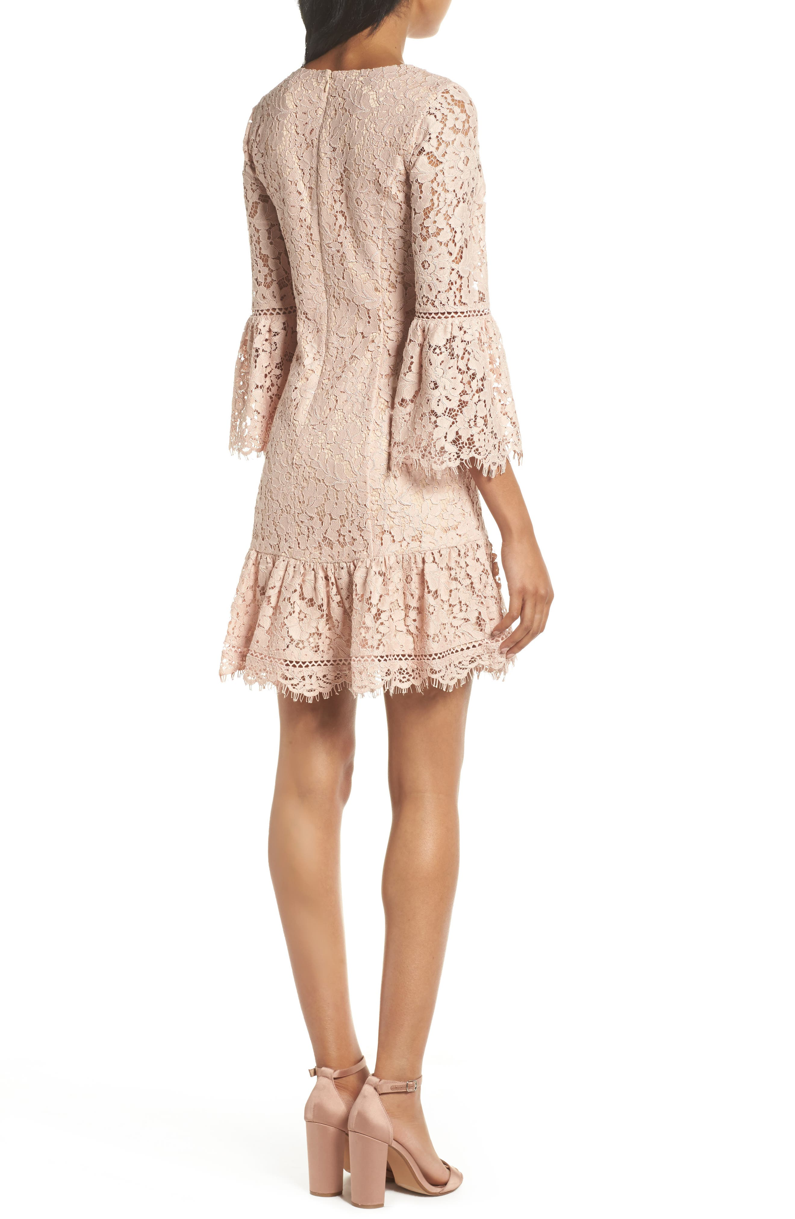 Bell Sleeve Lace Dress,                             Alternate thumbnail 2, color,                             Blush