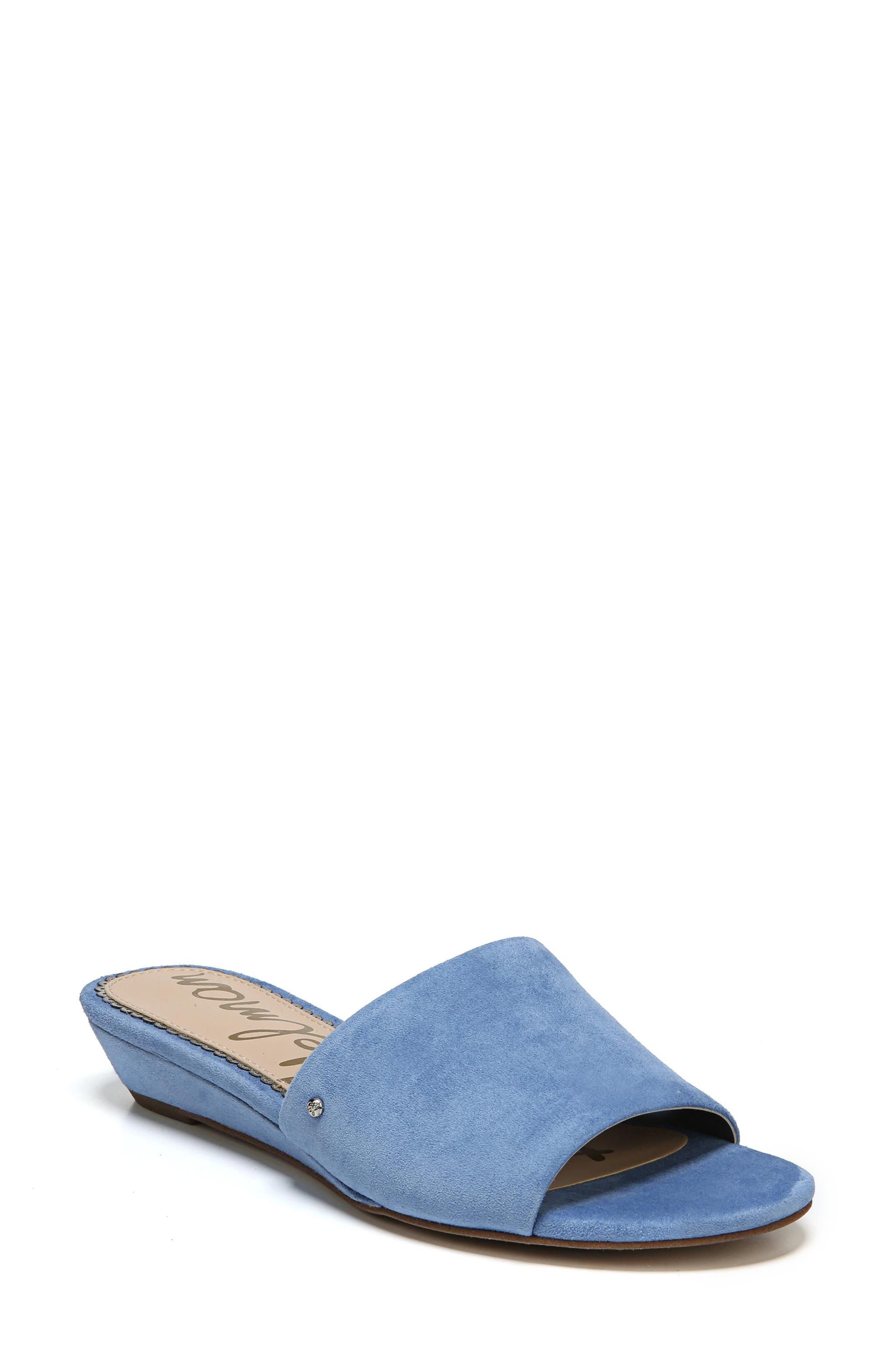 9e2ed518bc18 Sam Edelman Women S Liliana Suede Demi Wedge Slide Sandals In Denim Blue  Suede