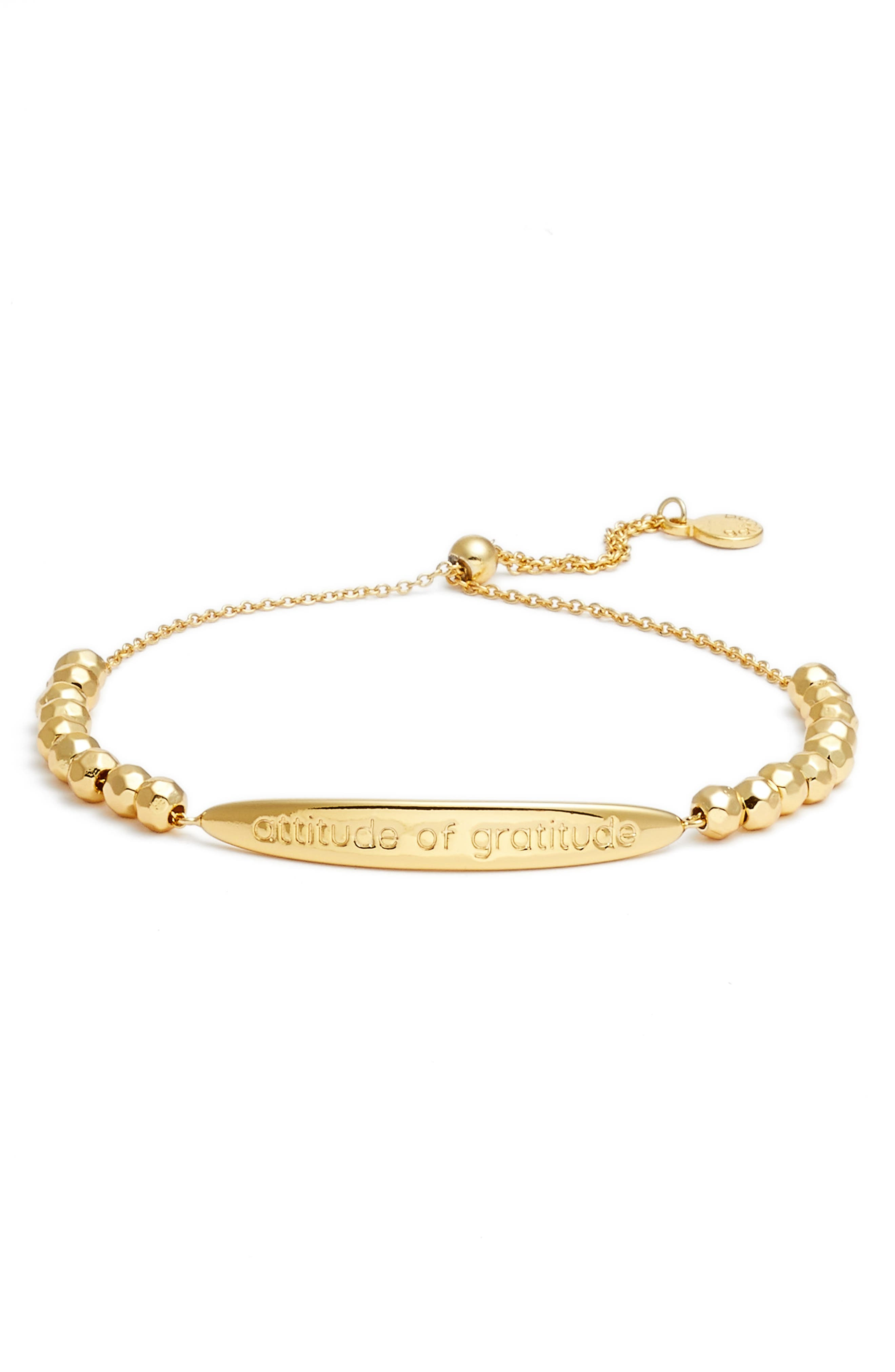 Power Intention Attitude of Gratitude Bangle Bracelet,                         Main,                         color, Gold