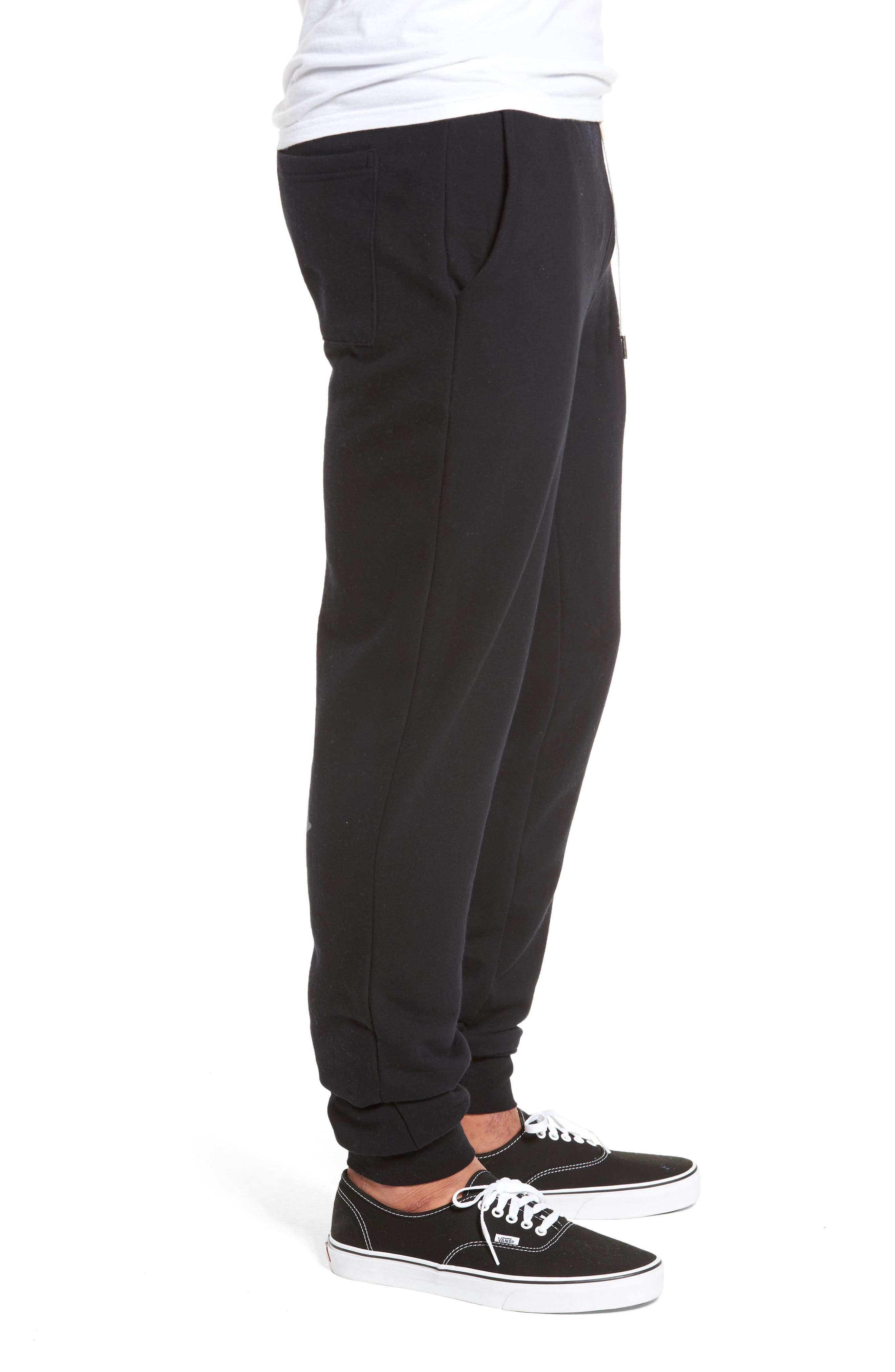 Fleece Jogger Pants,                             Alternate thumbnail 3, color,                             Black Rock