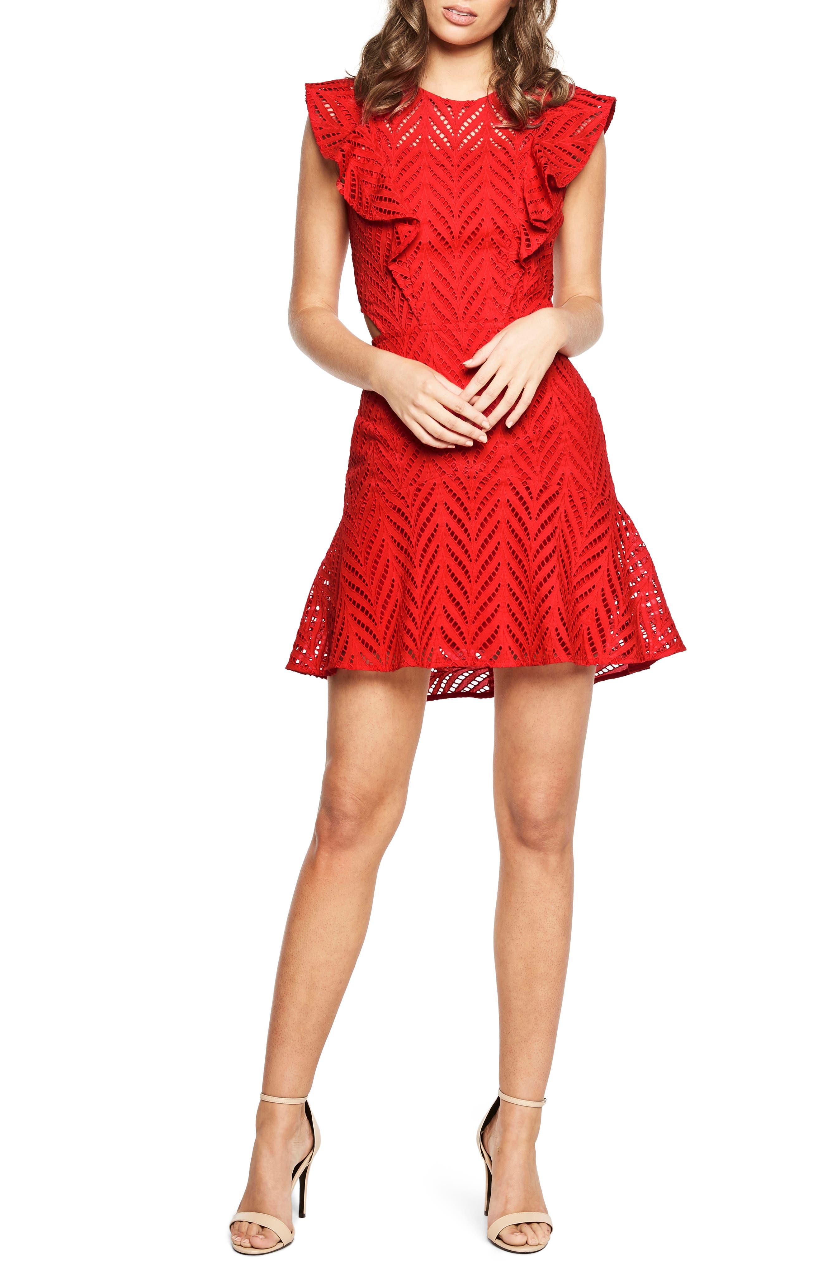 Kira Crochet Ruffle Dress,                         Main,                         color, Lipstick Red