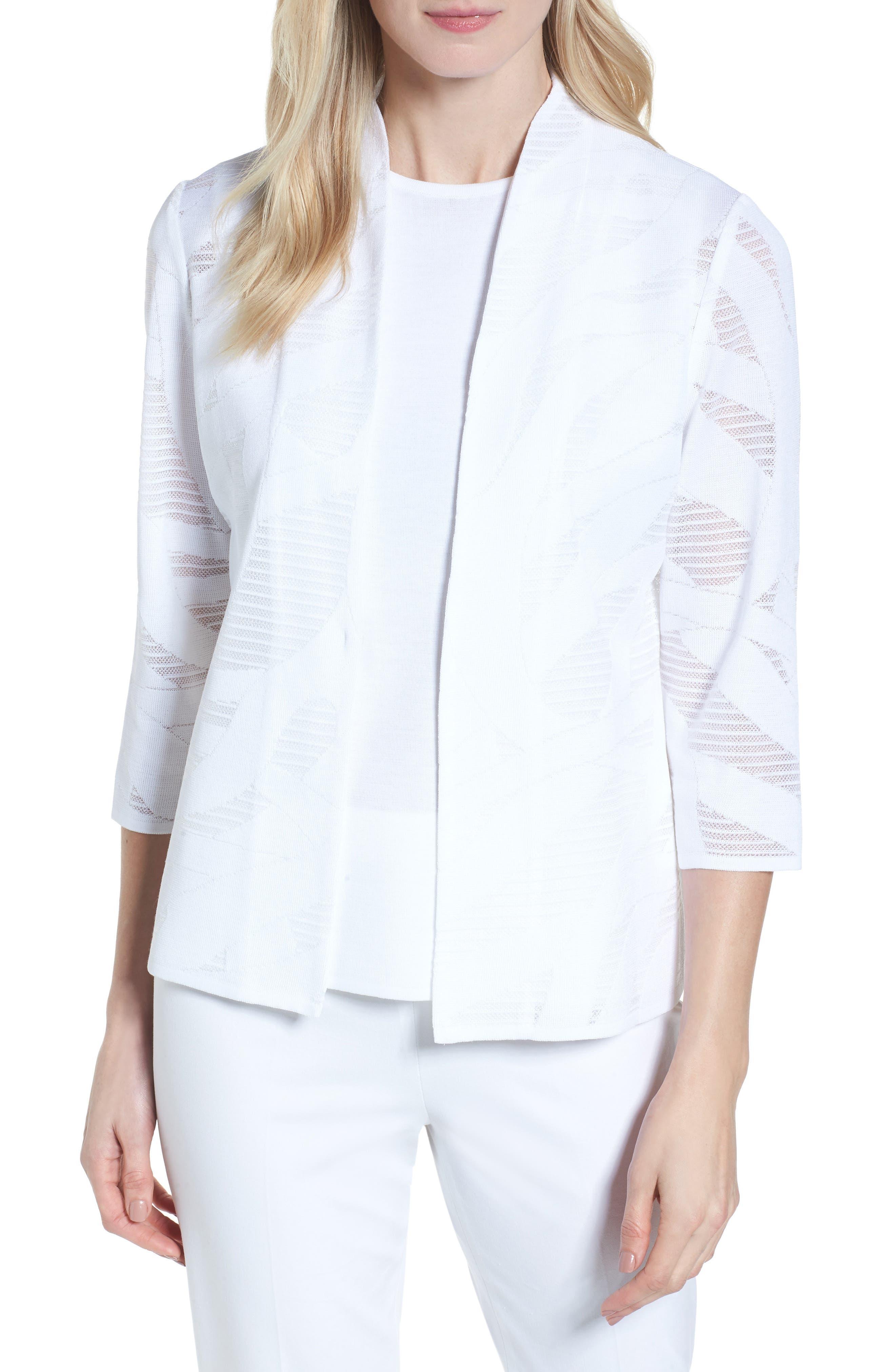 Mesh Inset Jacquard Jacket,                         Main,                         color, White