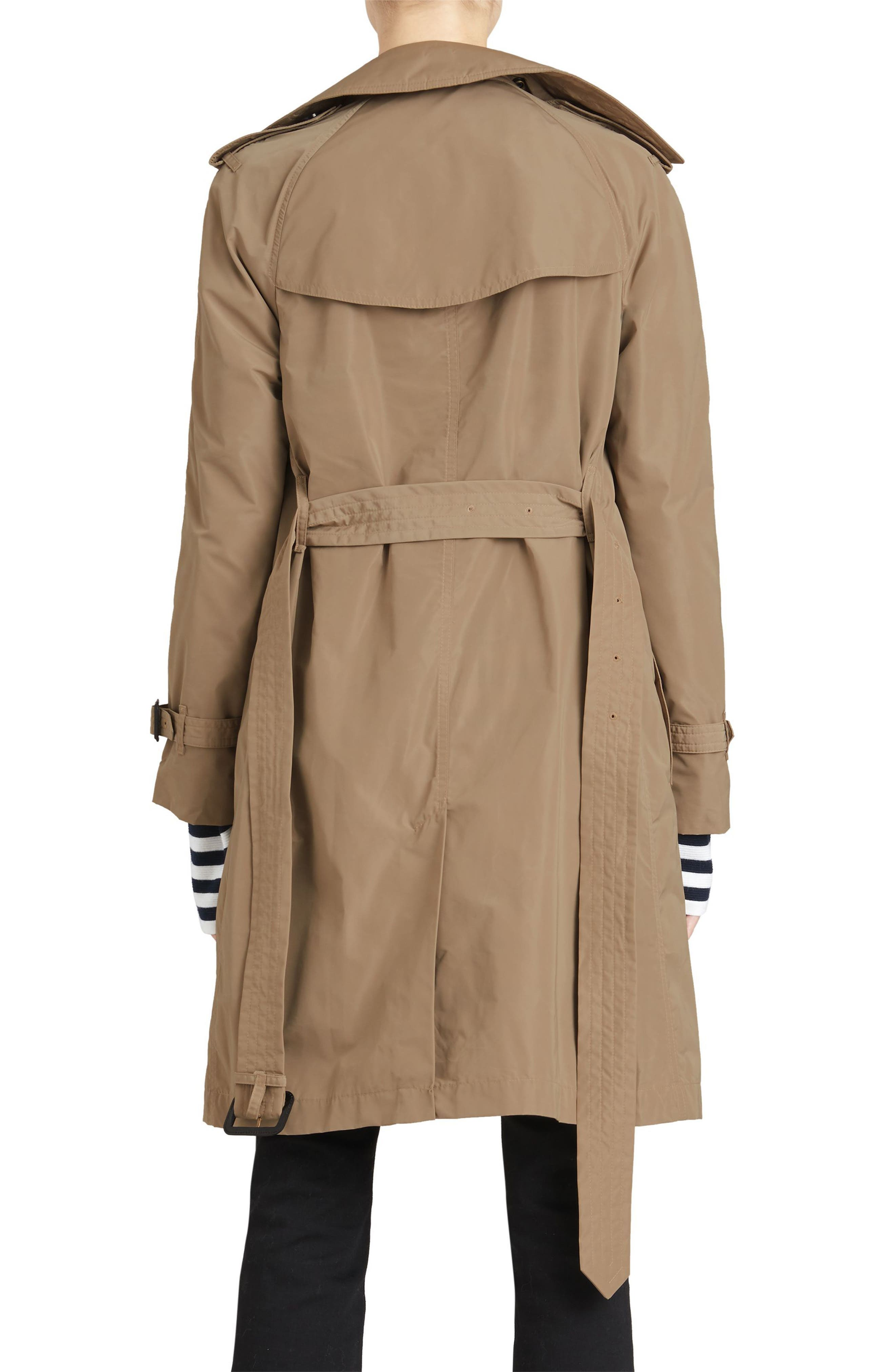 Amberford Taffeta Trench Coat with Detachable Hood,                             Alternate thumbnail 2, color,                             Sisal