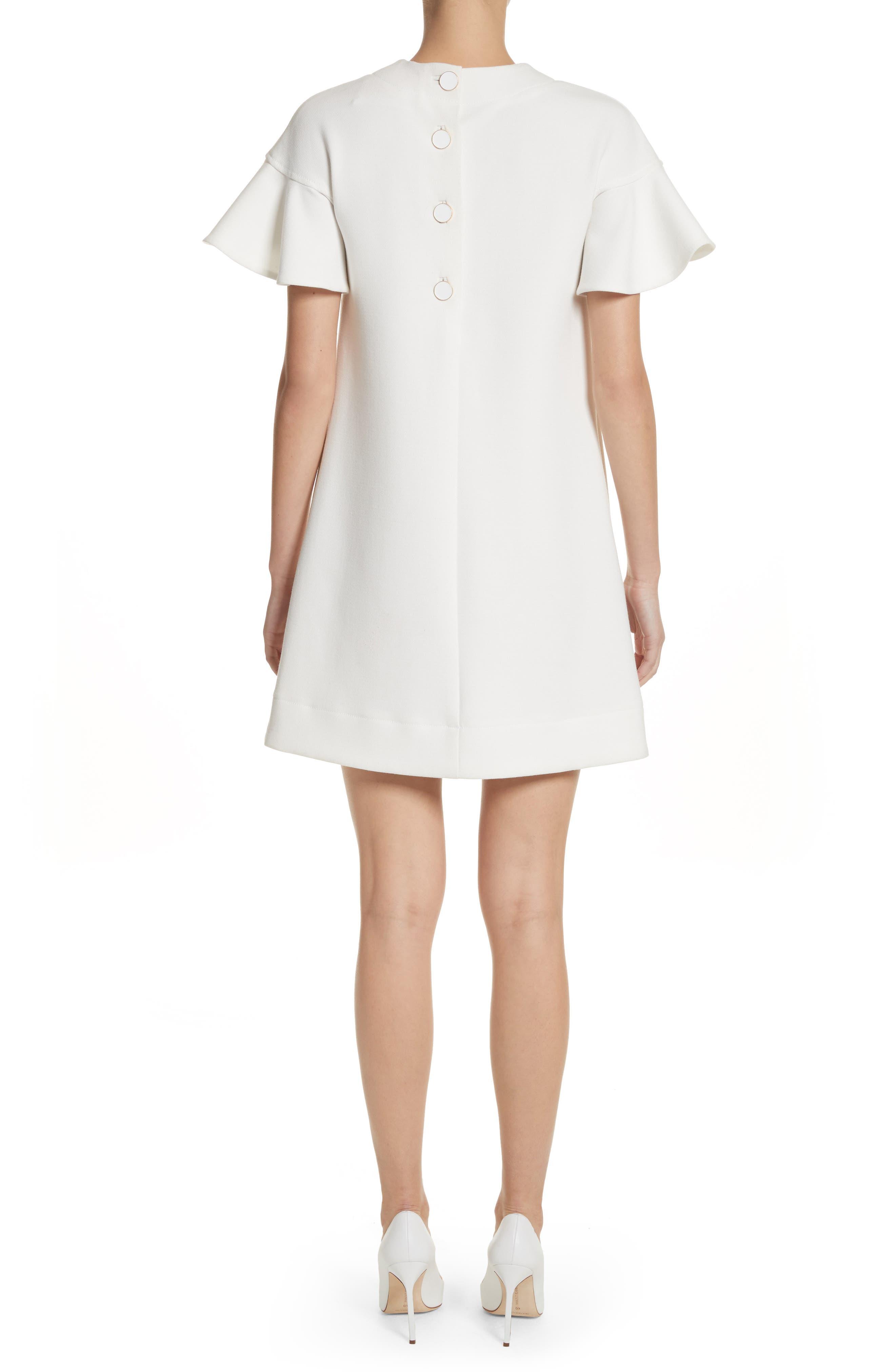 Flutter Sleeve Wool Blend Shift Dress,                             Alternate thumbnail 2, color,                             White