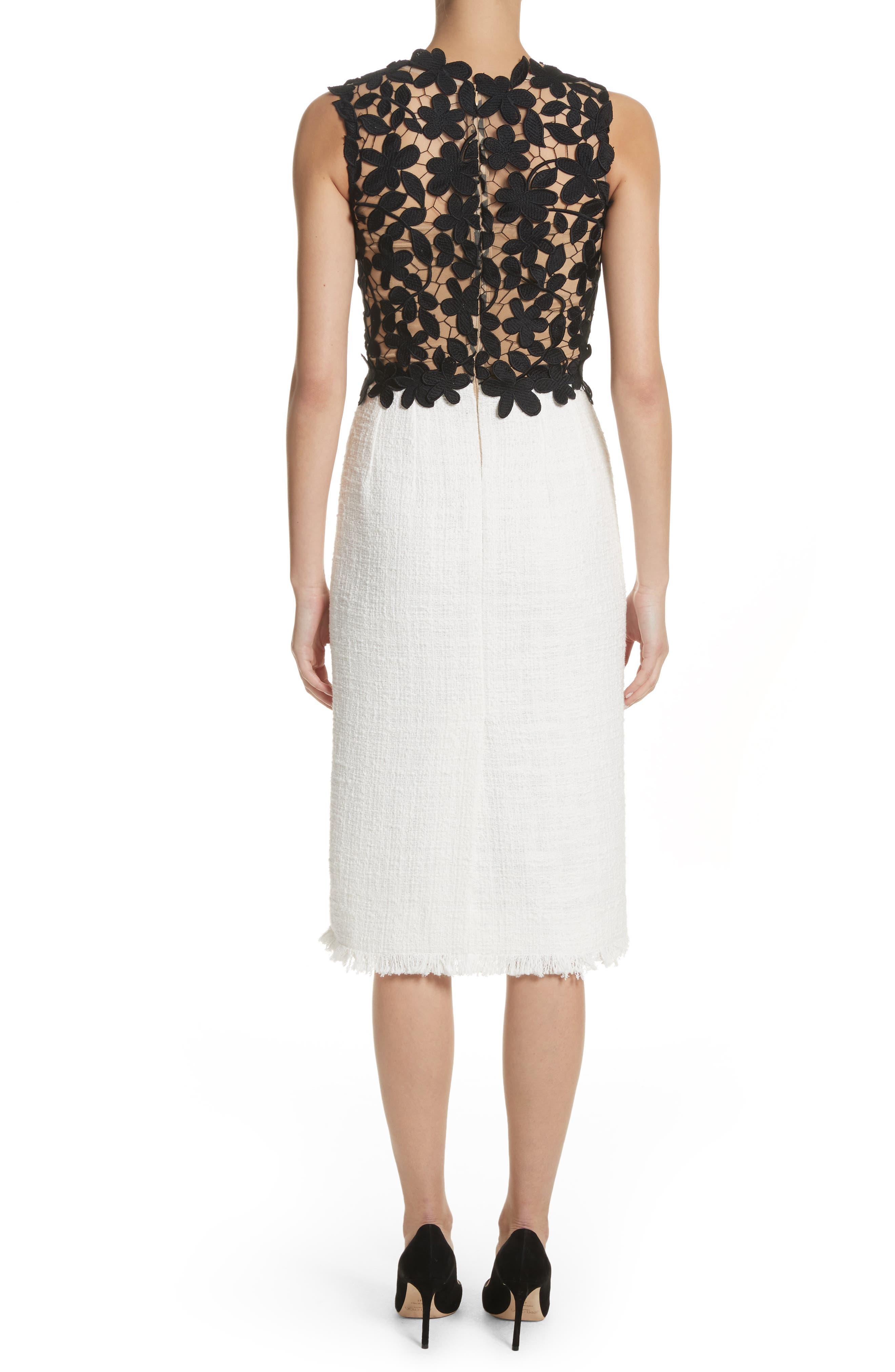Lace Bodice Sheath Dress,                             Alternate thumbnail 2, color,                             Black/ White