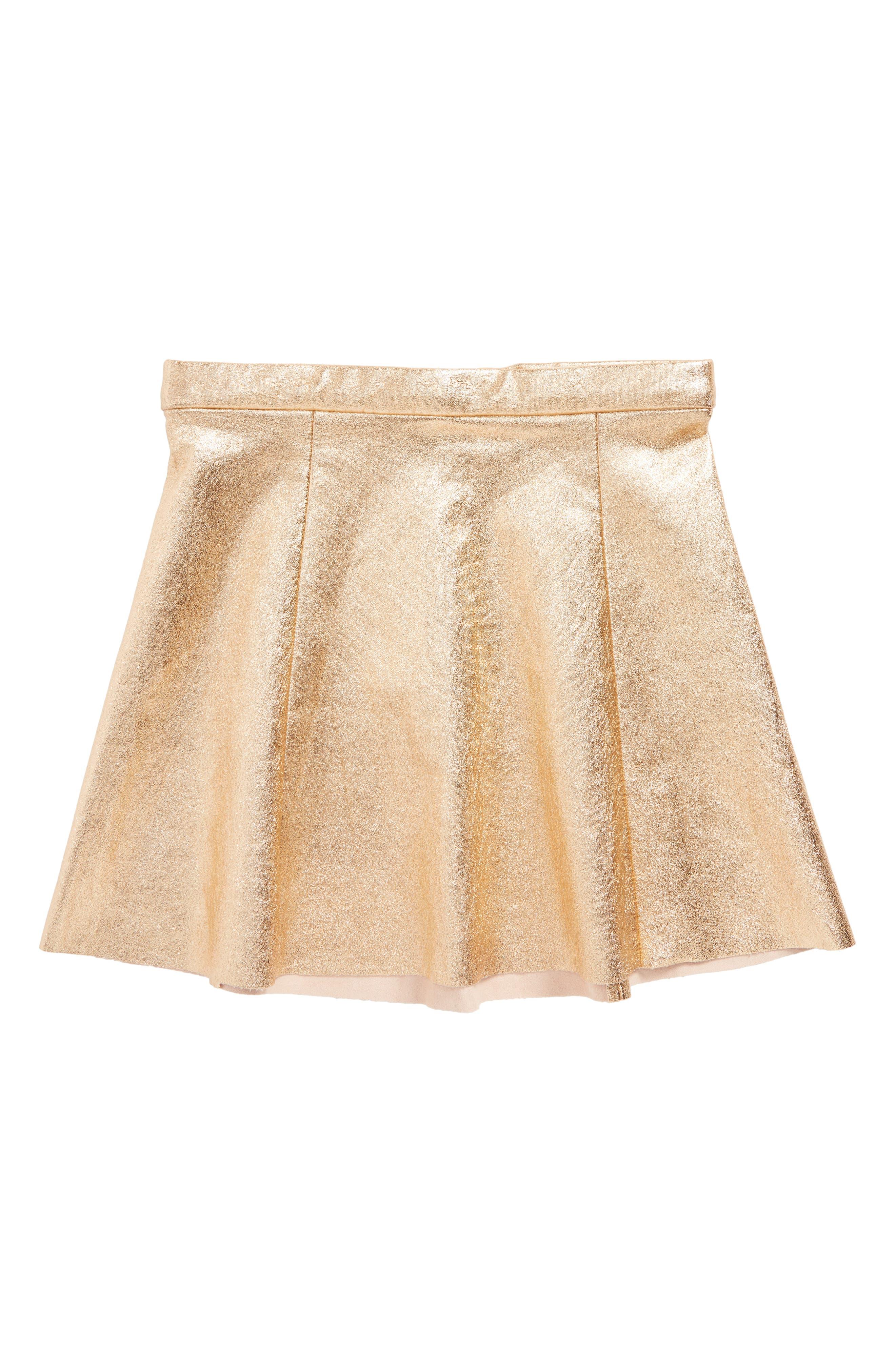 metallic skirt,                             Main thumbnail 1, color,                             Rosegold Metallic