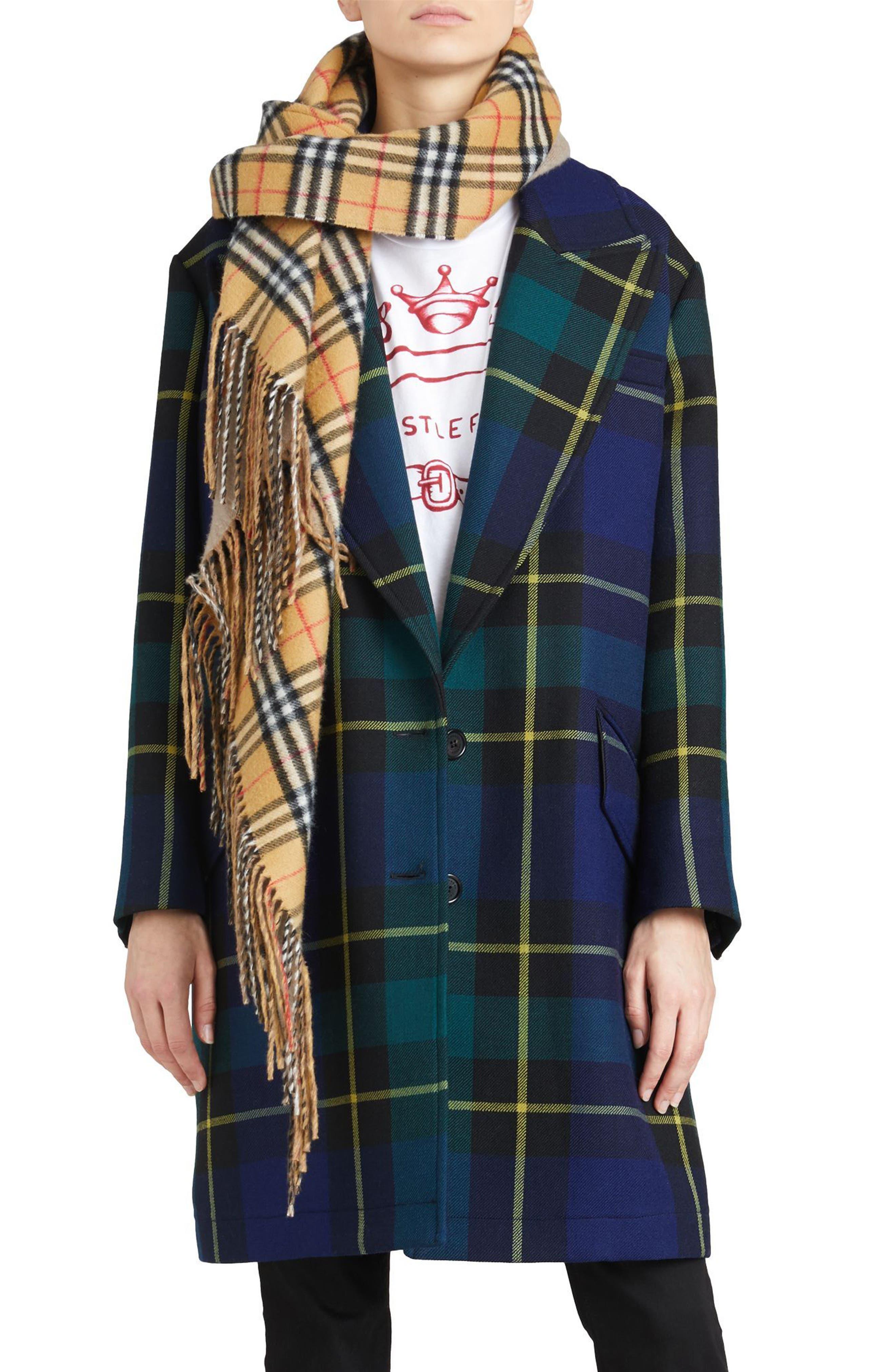 Strathyre Tartan Plaid Wool Blend Coat,                         Main,                         color, Pine Green