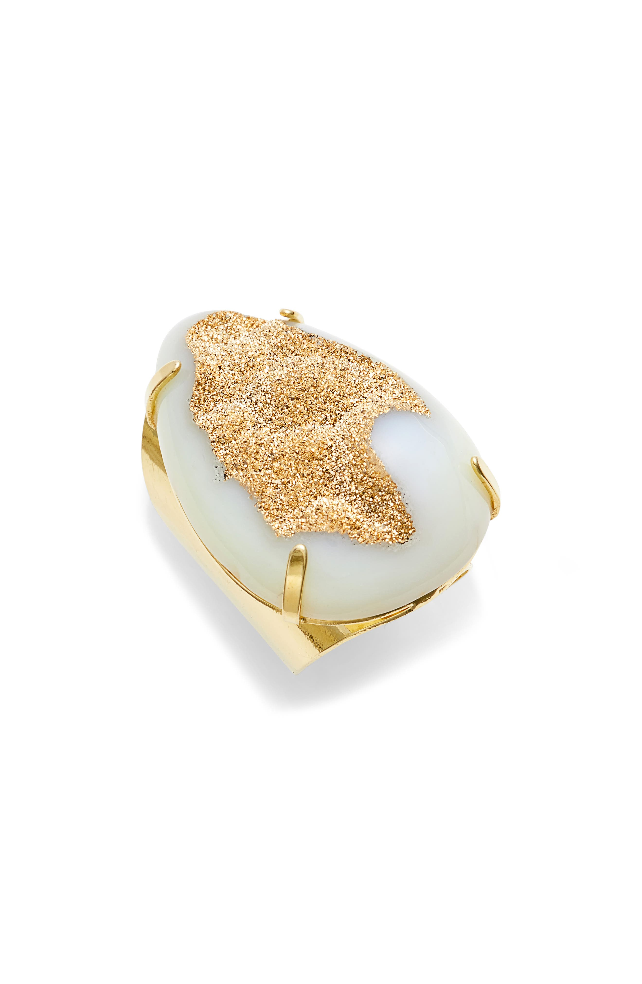Teardrop Drusy Agate Adjustable Ring,                         Main,                         color, White