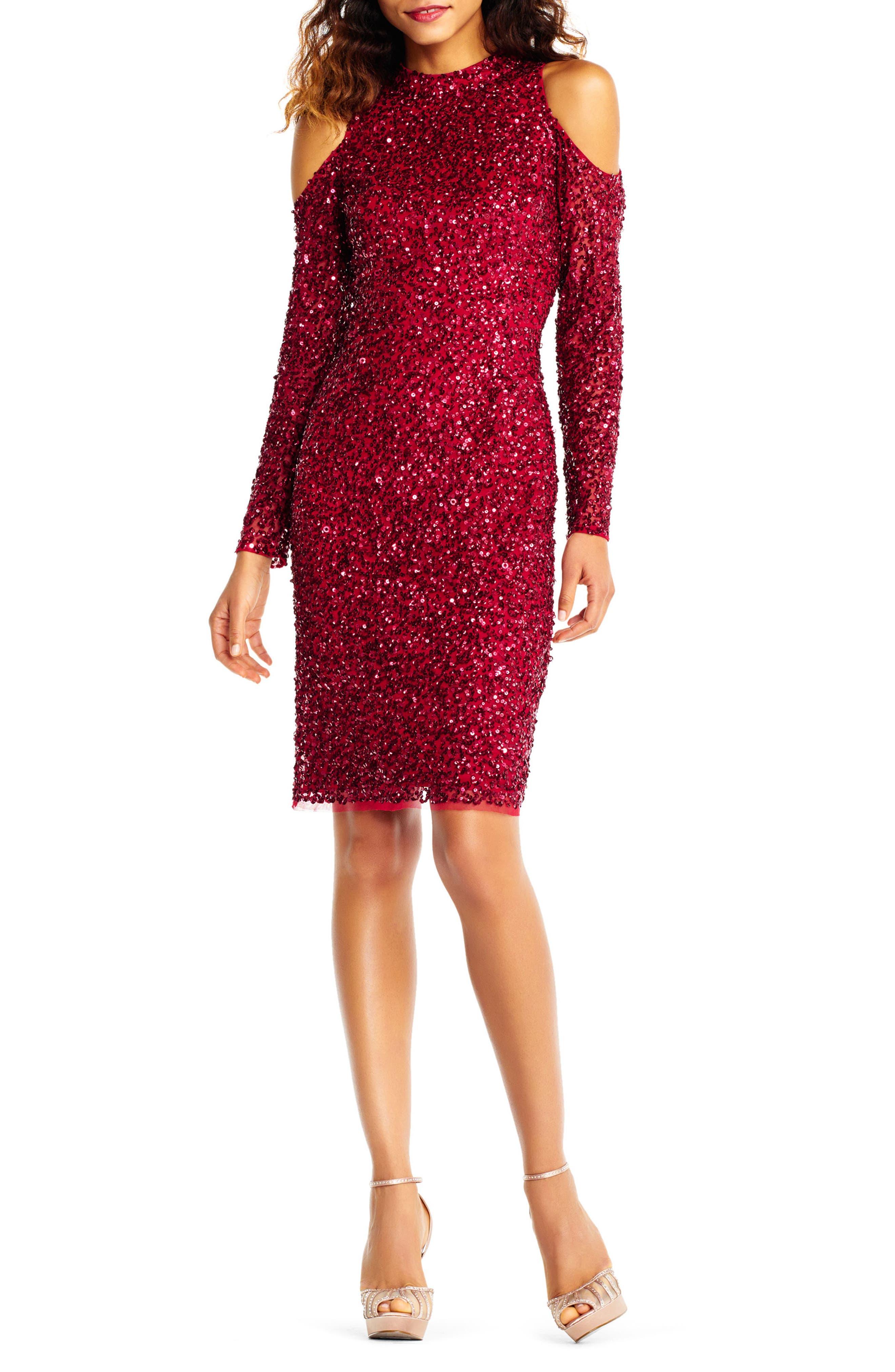 Beaded Cold Shoulder Sheath Dress,                         Main,                         color, Cranberry