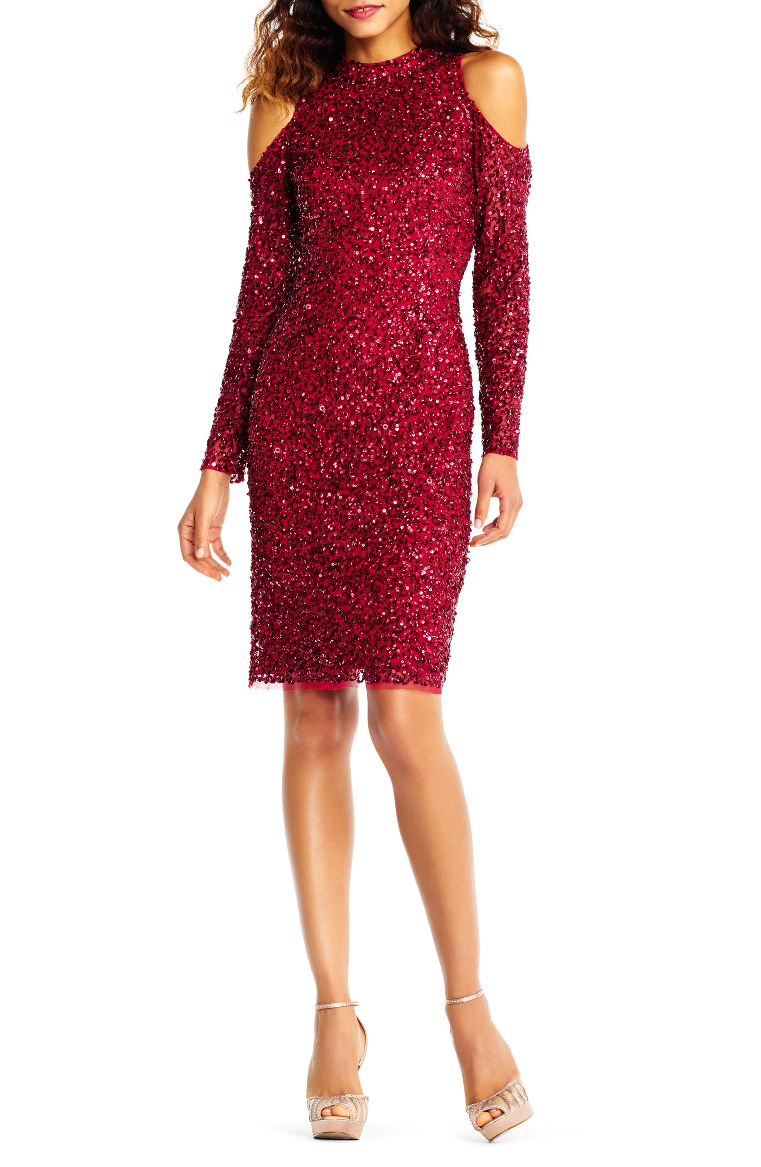 Adrianna Papell Beaded Cold Shoulder Sheath Dress