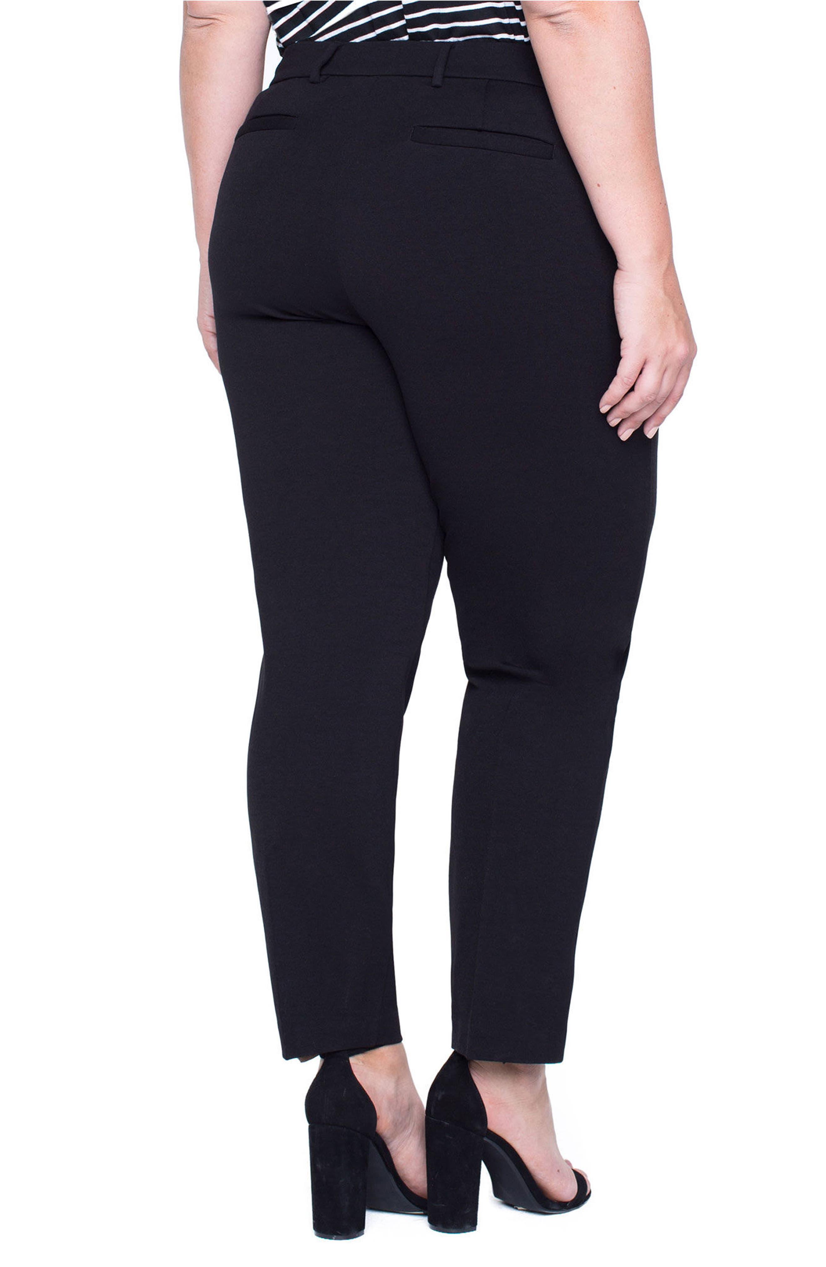 Kelsey Ponte Knit Trousers,                             Alternate thumbnail 3, color,                             Black