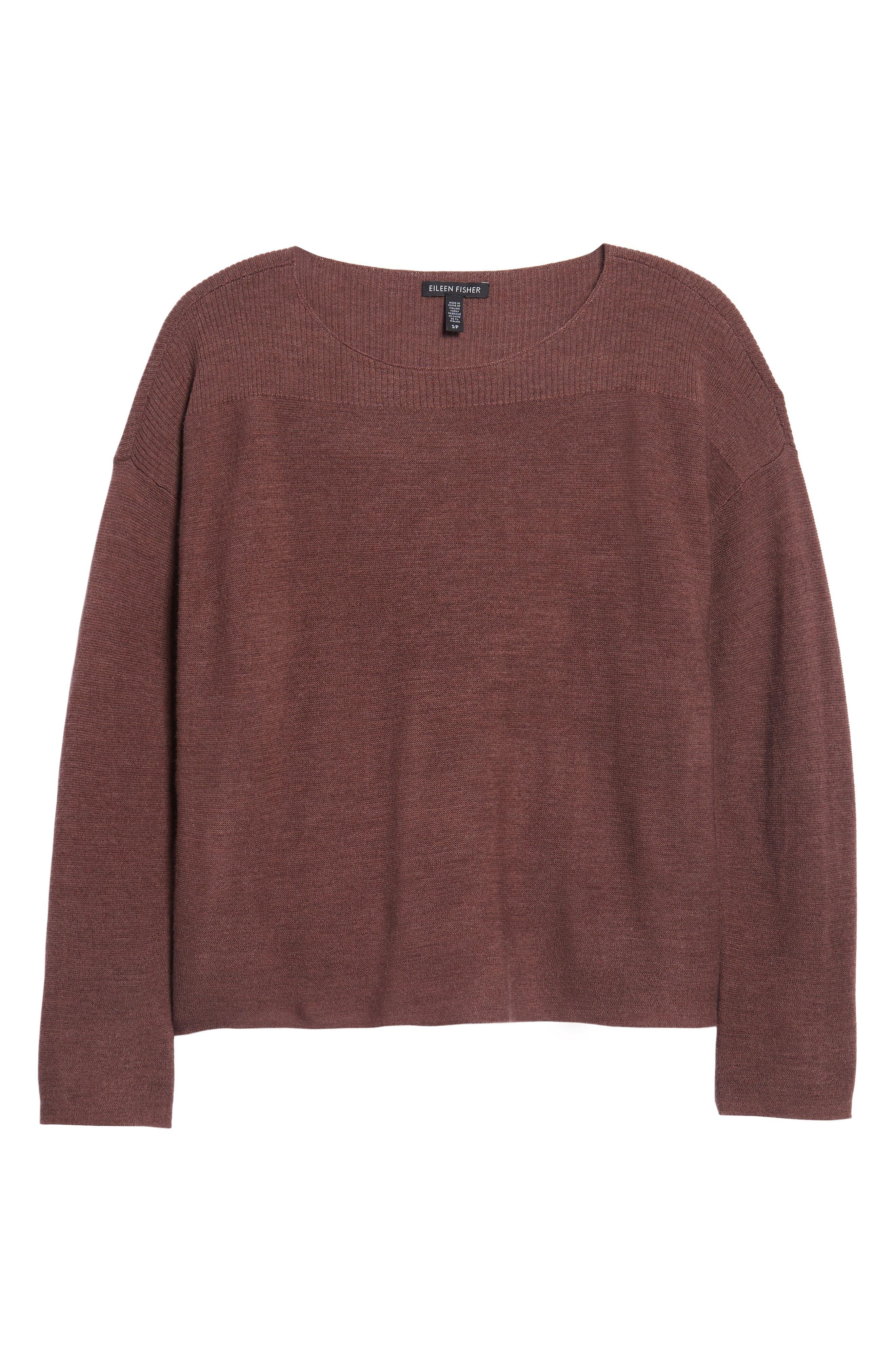 Mix Stitch Merino Bateau Neck Sweater,                             Main thumbnail 1, color,                             Mahogany
