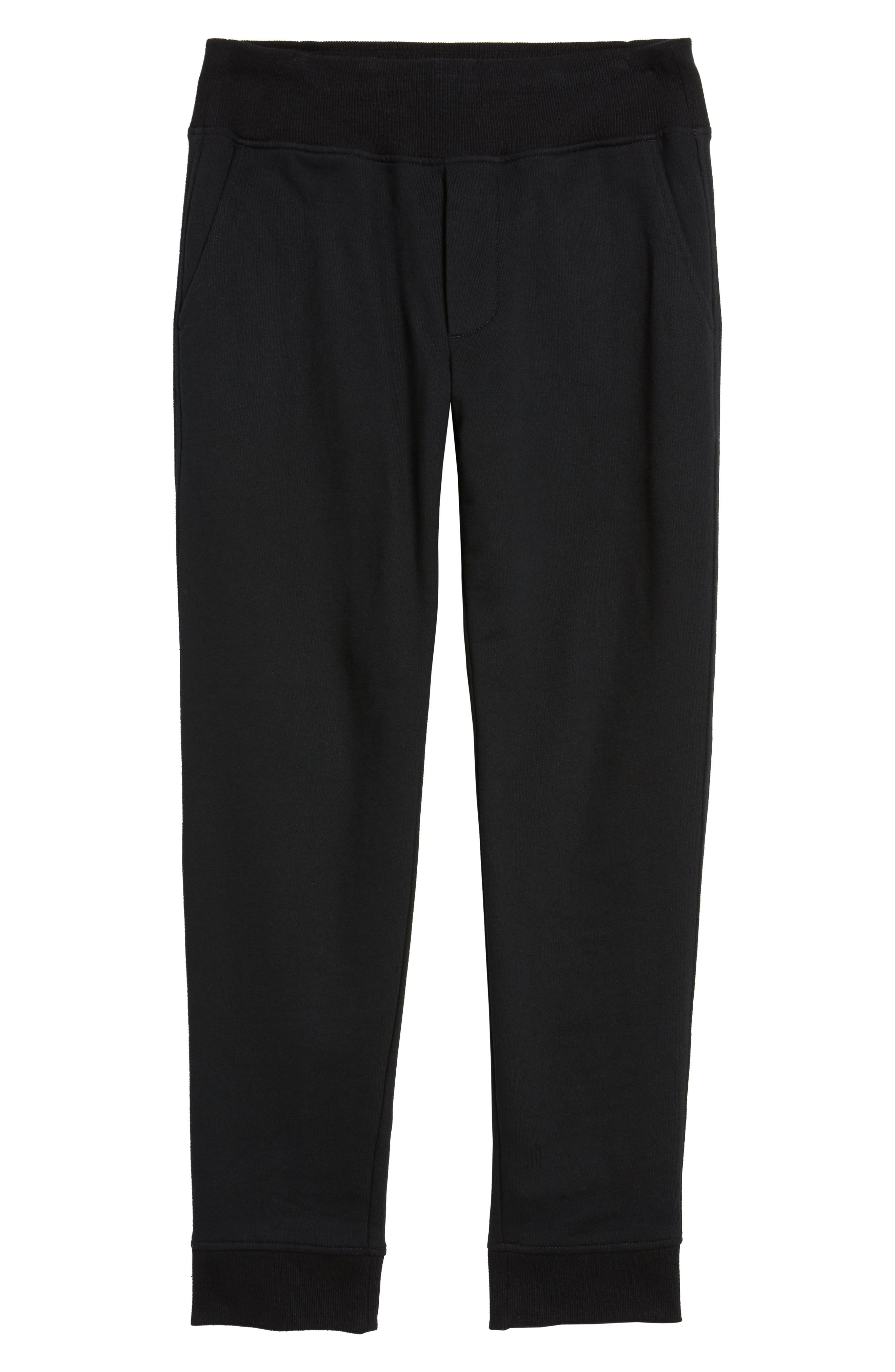 French Terry Regular Fit Sweatpants,                             Alternate thumbnail 6, color,                             Black