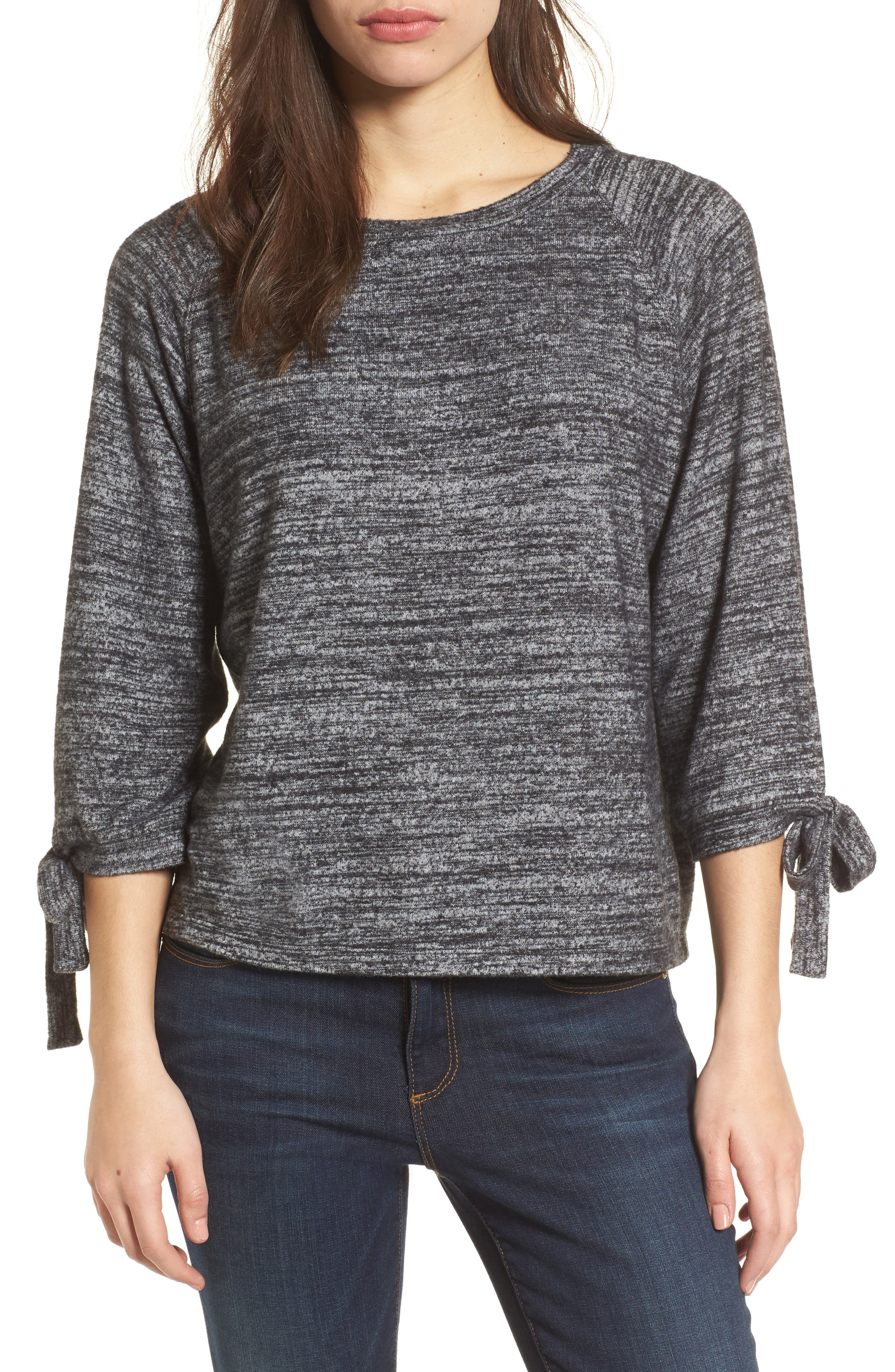 Tie Sleeve Jersey Top,                             Main thumbnail 1, color,                             Marled