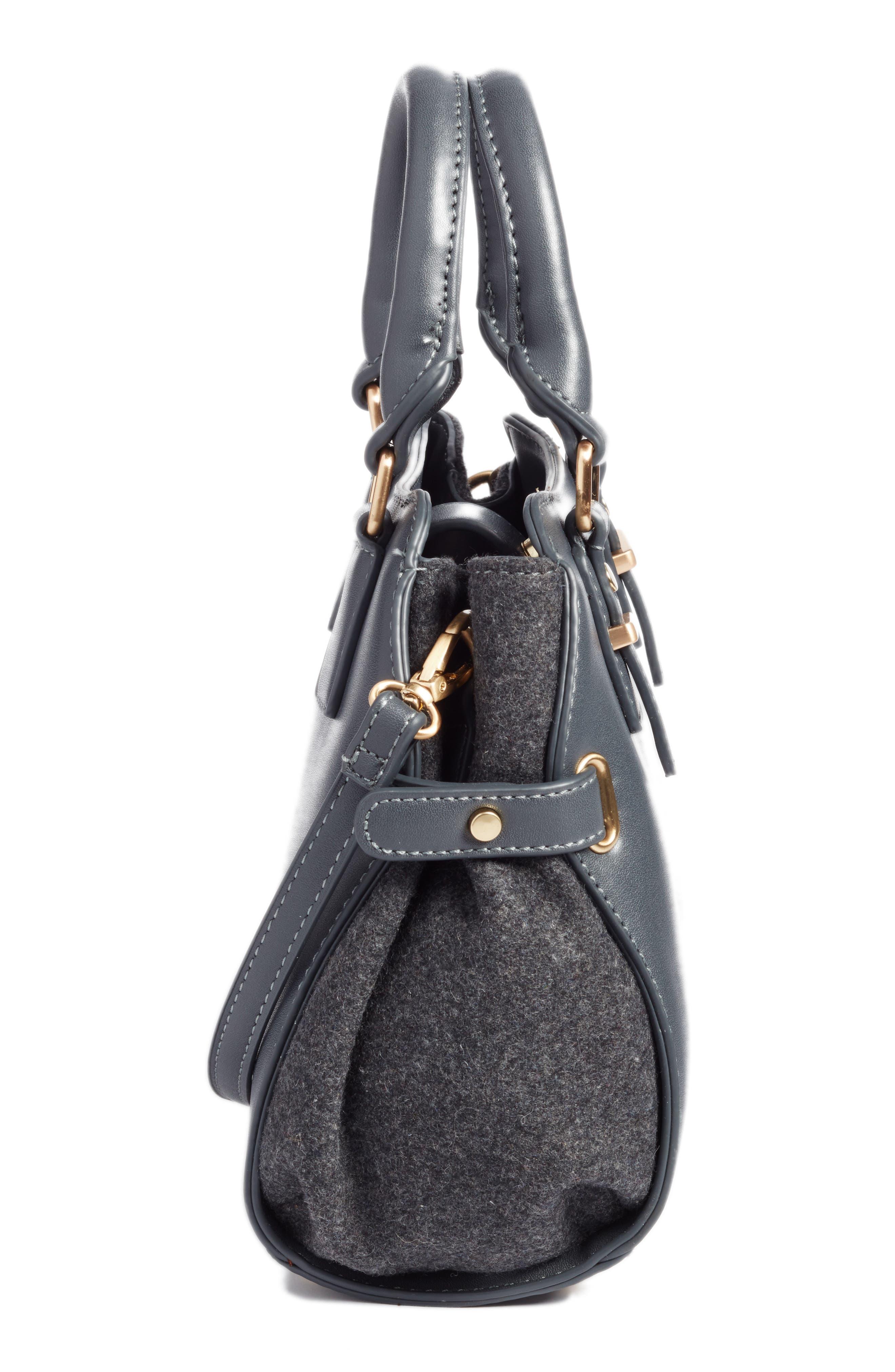 Faux Leather & Flannel Satchel,                             Alternate thumbnail 3, color,                             Black Grey Flannel