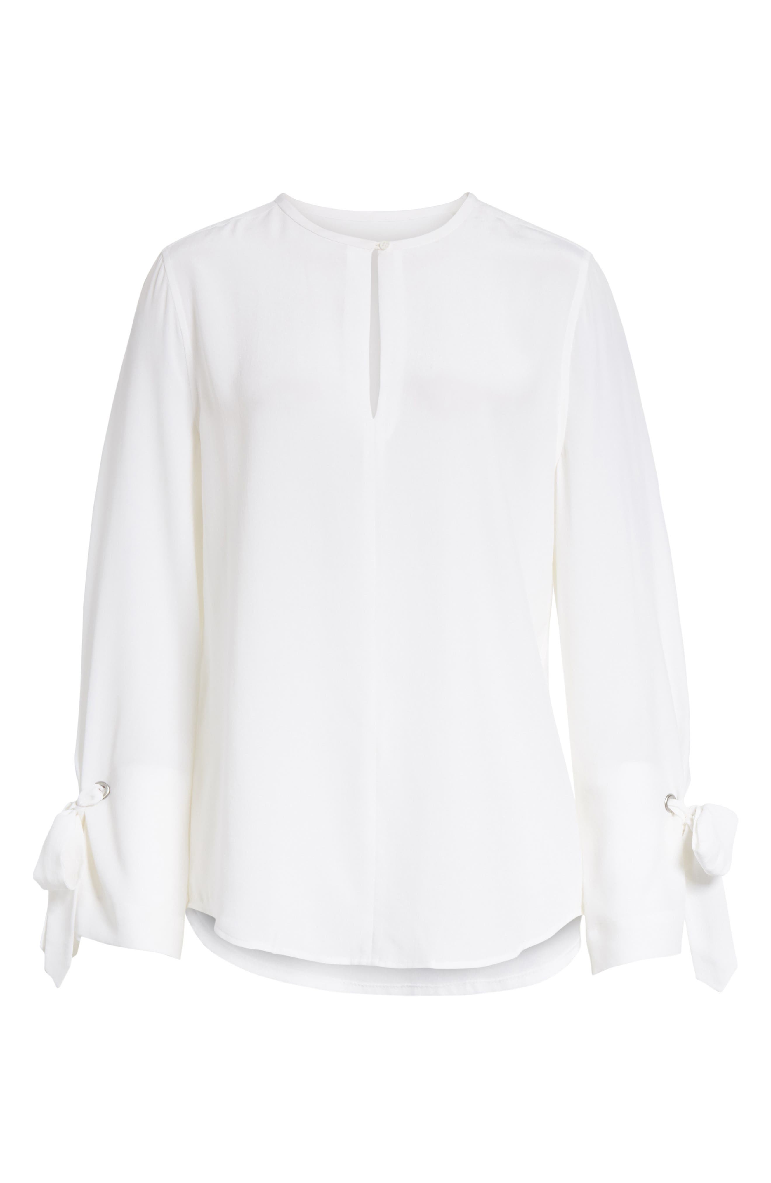Sayer Tie Sleeve Silk Top,                             Alternate thumbnail 6, color,                             Bright White
