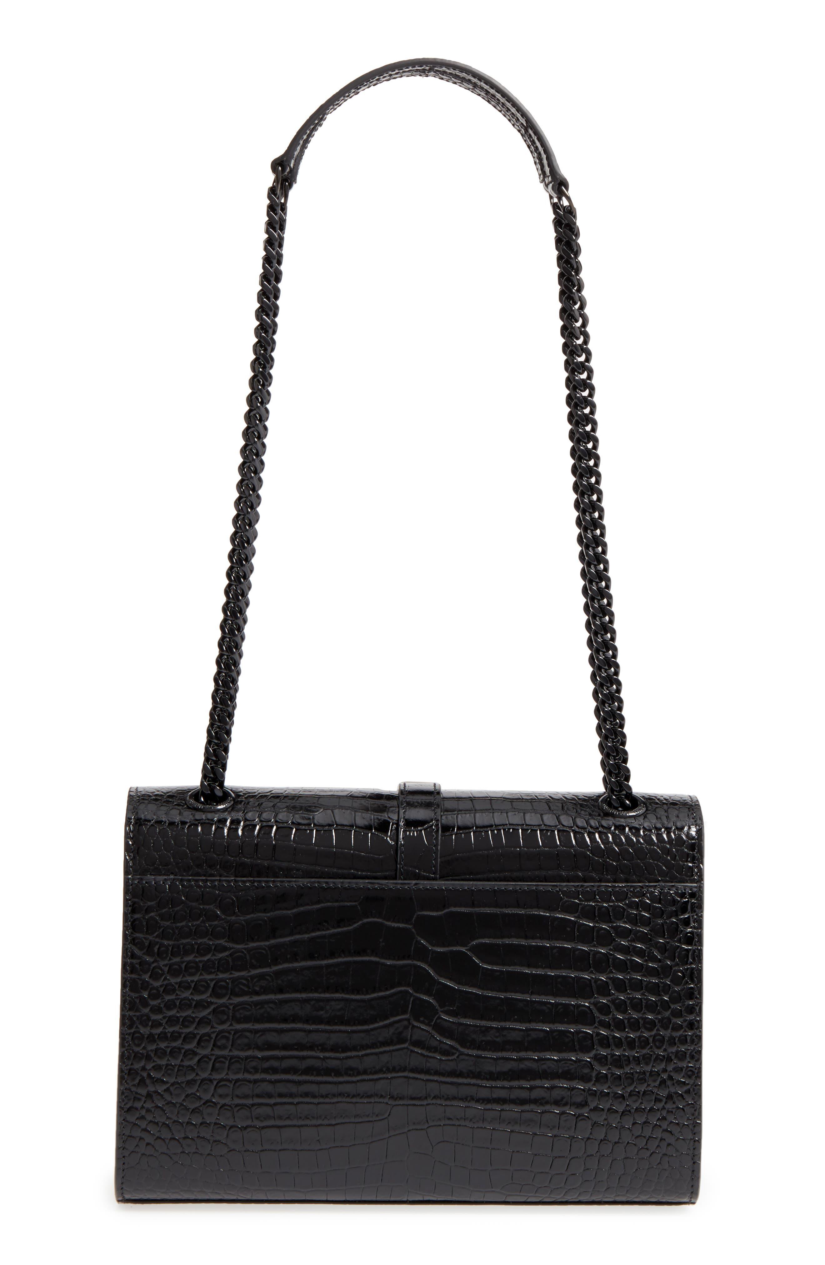Medium Croc-Embossed Calfskin Shoulder Bag,                             Alternate thumbnail 3, color,                             Noir