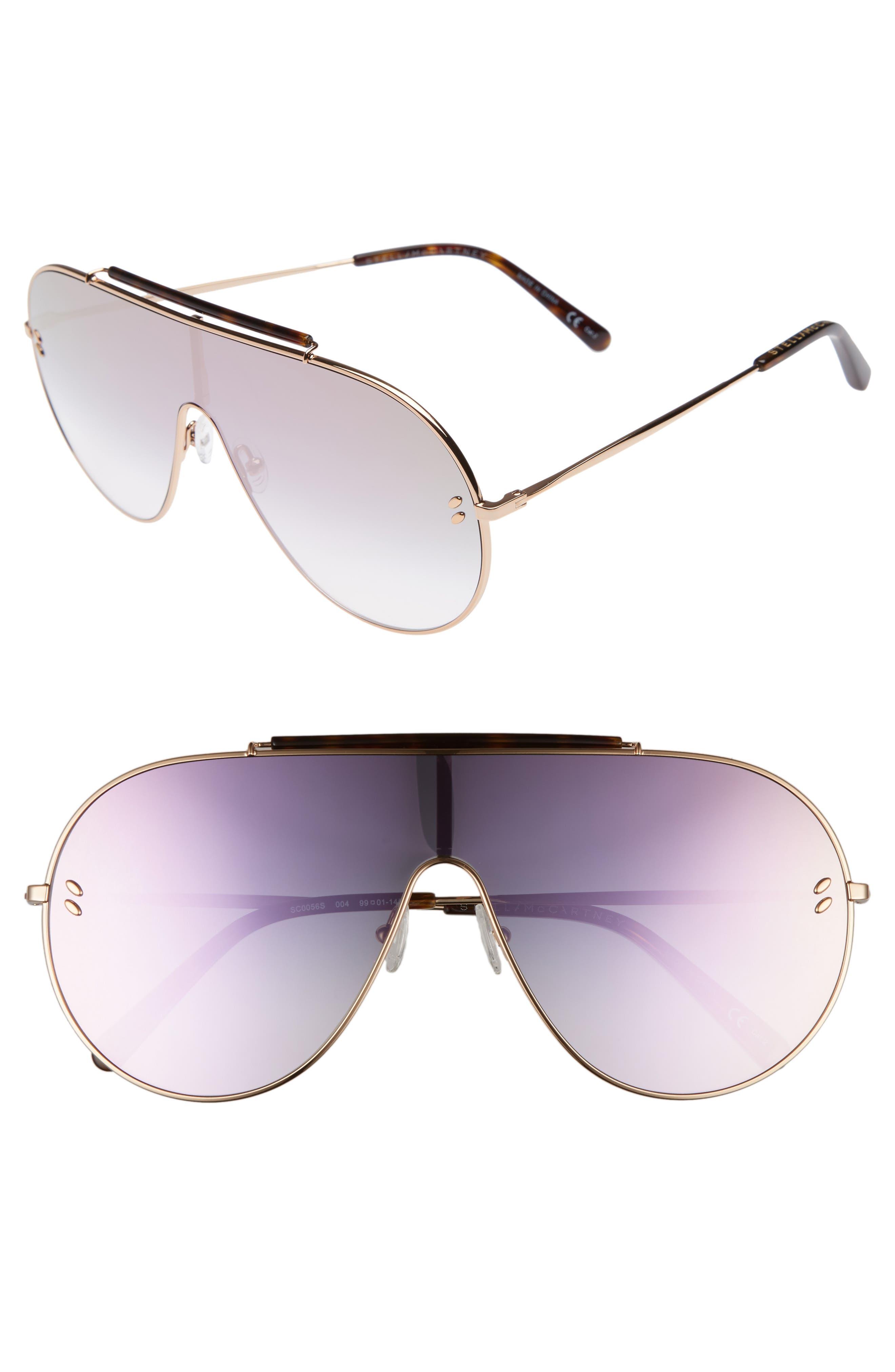 65mm Shield Sunglasses,                             Main thumbnail 1, color,                             Gold
