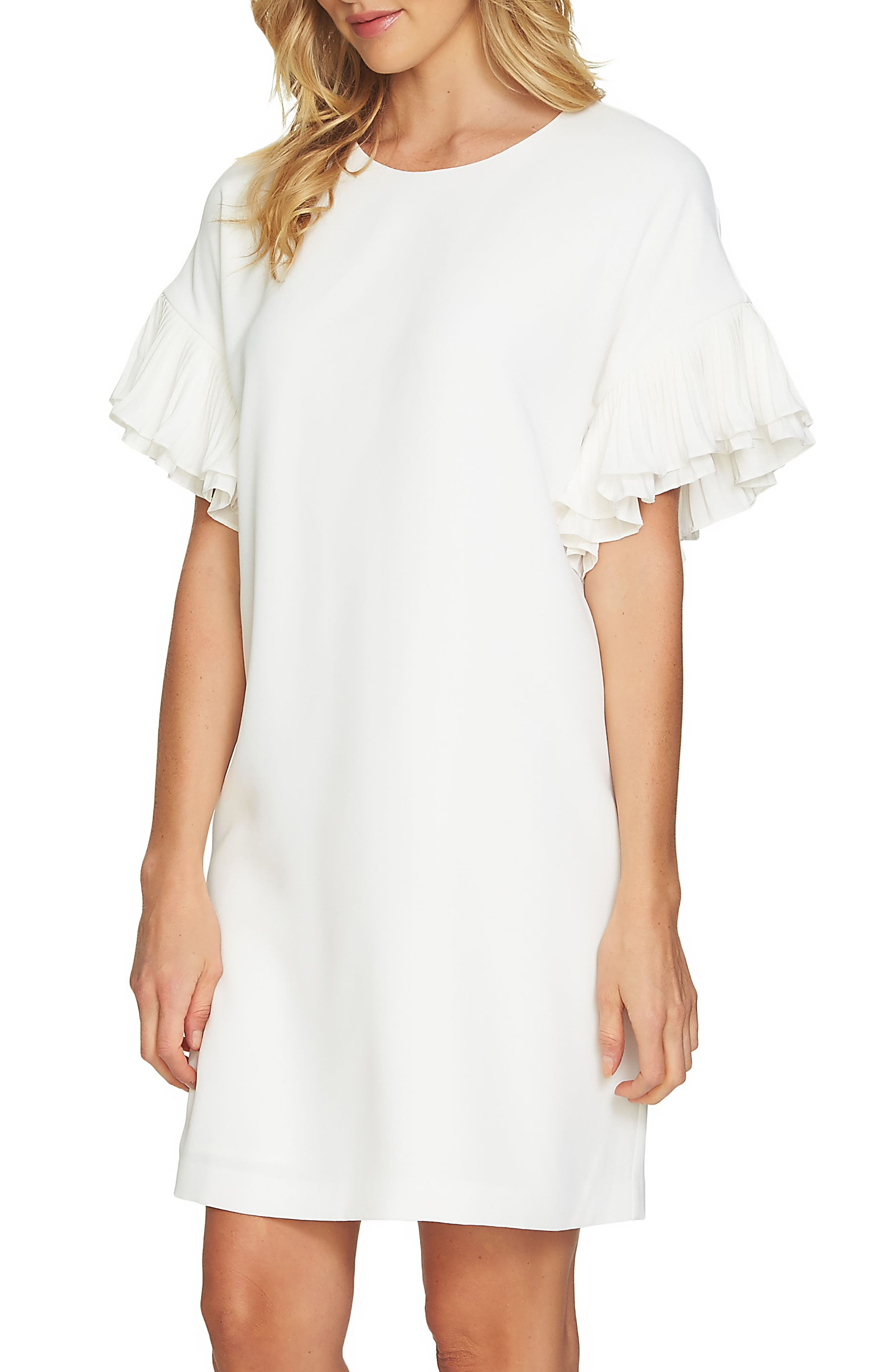 Tiered Pleated Crepe Shift Dress,                         Main,                         color, Antique White