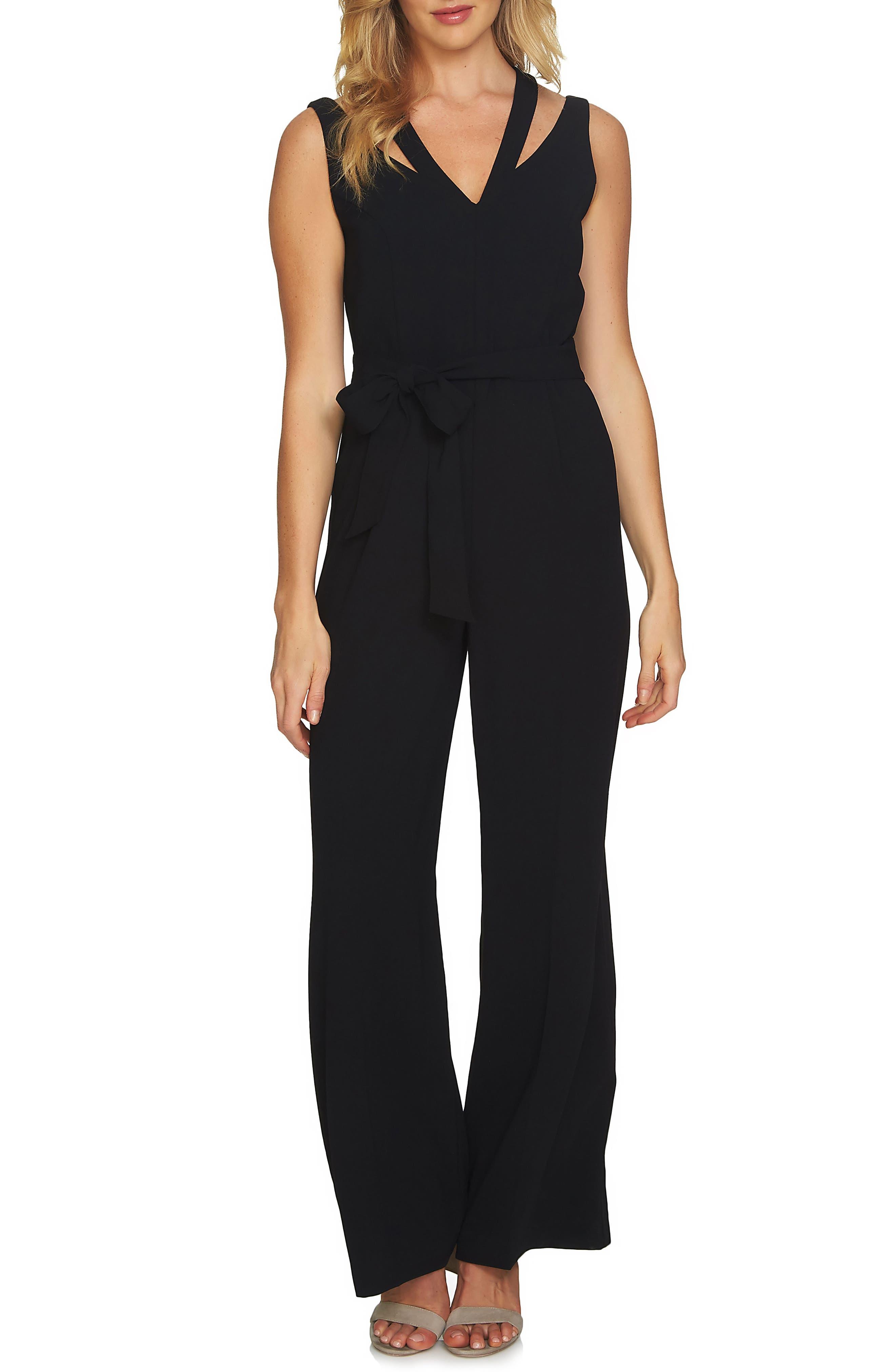 V-Neck Tie Waist Jumpsuit,                         Main,                         color, Rich Black