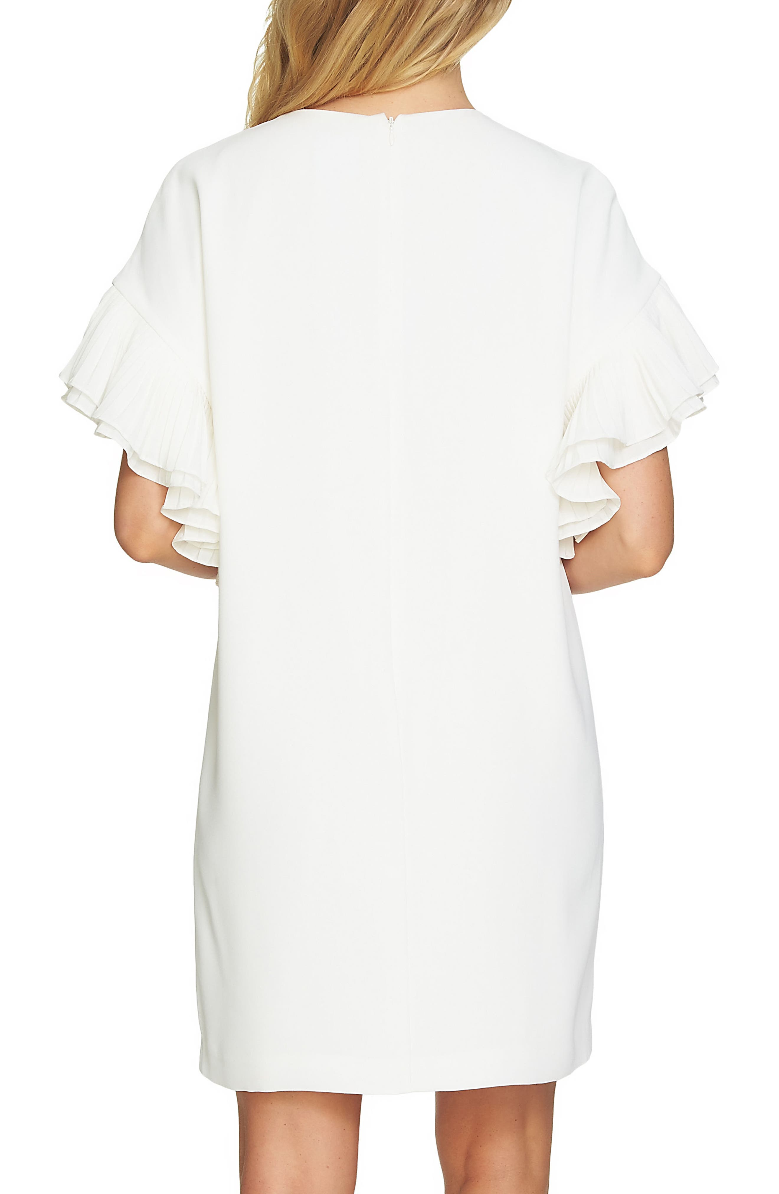 Tiered Pleated Crepe Shift Dress,                             Alternate thumbnail 2, color,                             Antique White