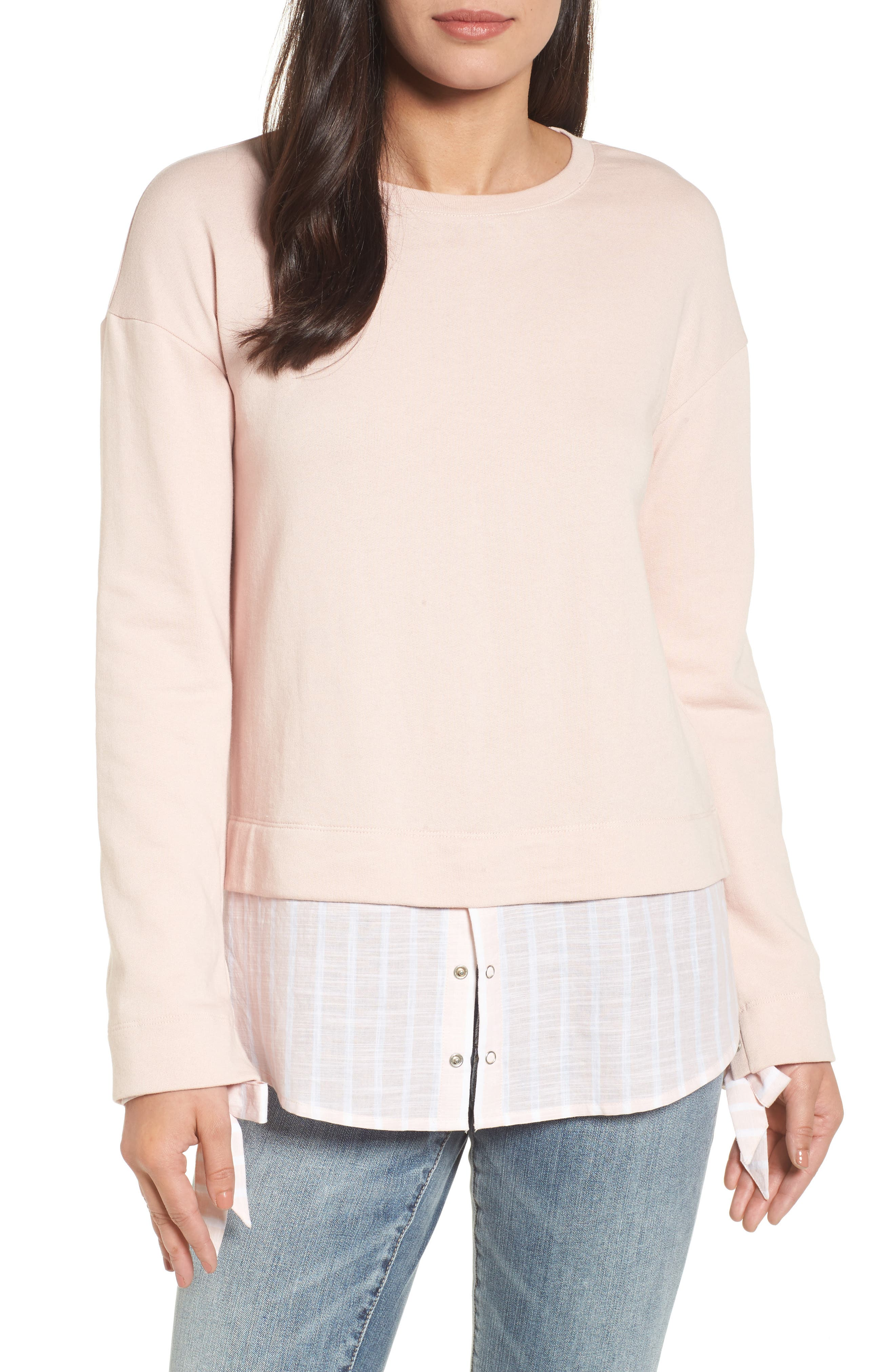 Woven Trim Layered Sweatshirt,                             Main thumbnail 1, color,                             Pink- Stripe Colorblock