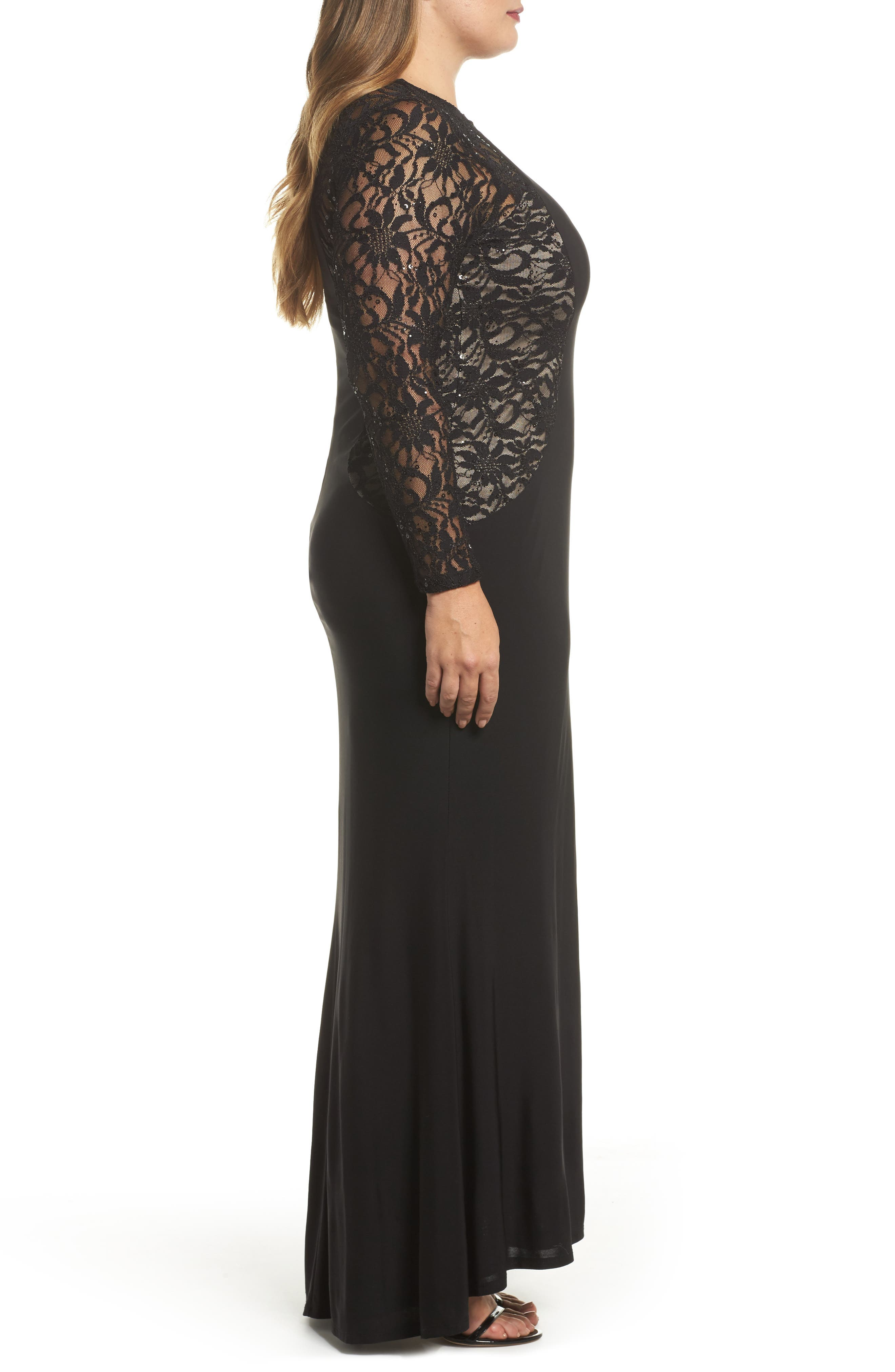 Alternate Image 3  - Marina Lace & Knit A-Line Gown (Plus Size)