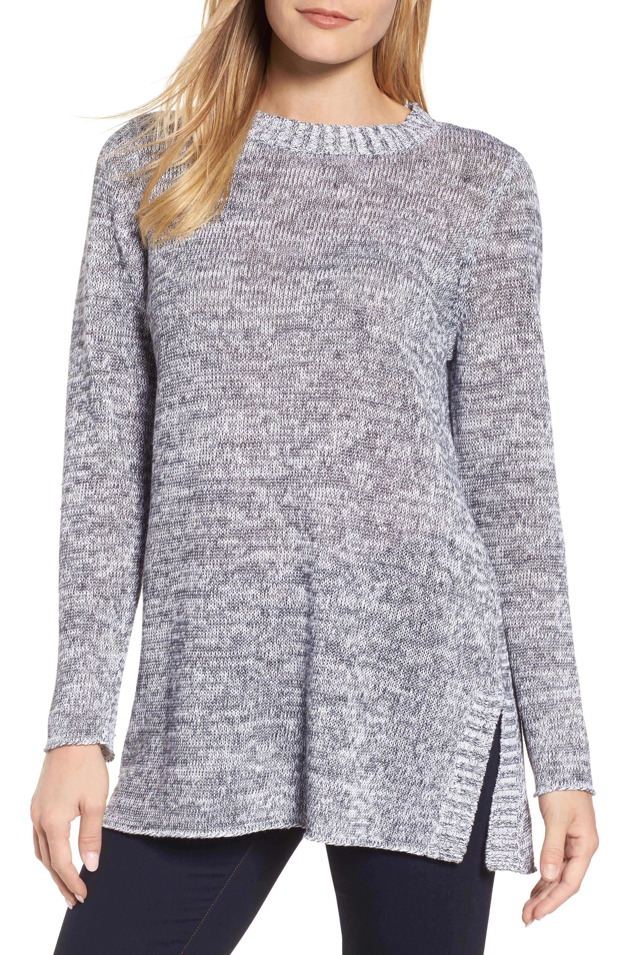 Organic Linen Crewneck Sweater,                         Main,                         color, Dark Pearl