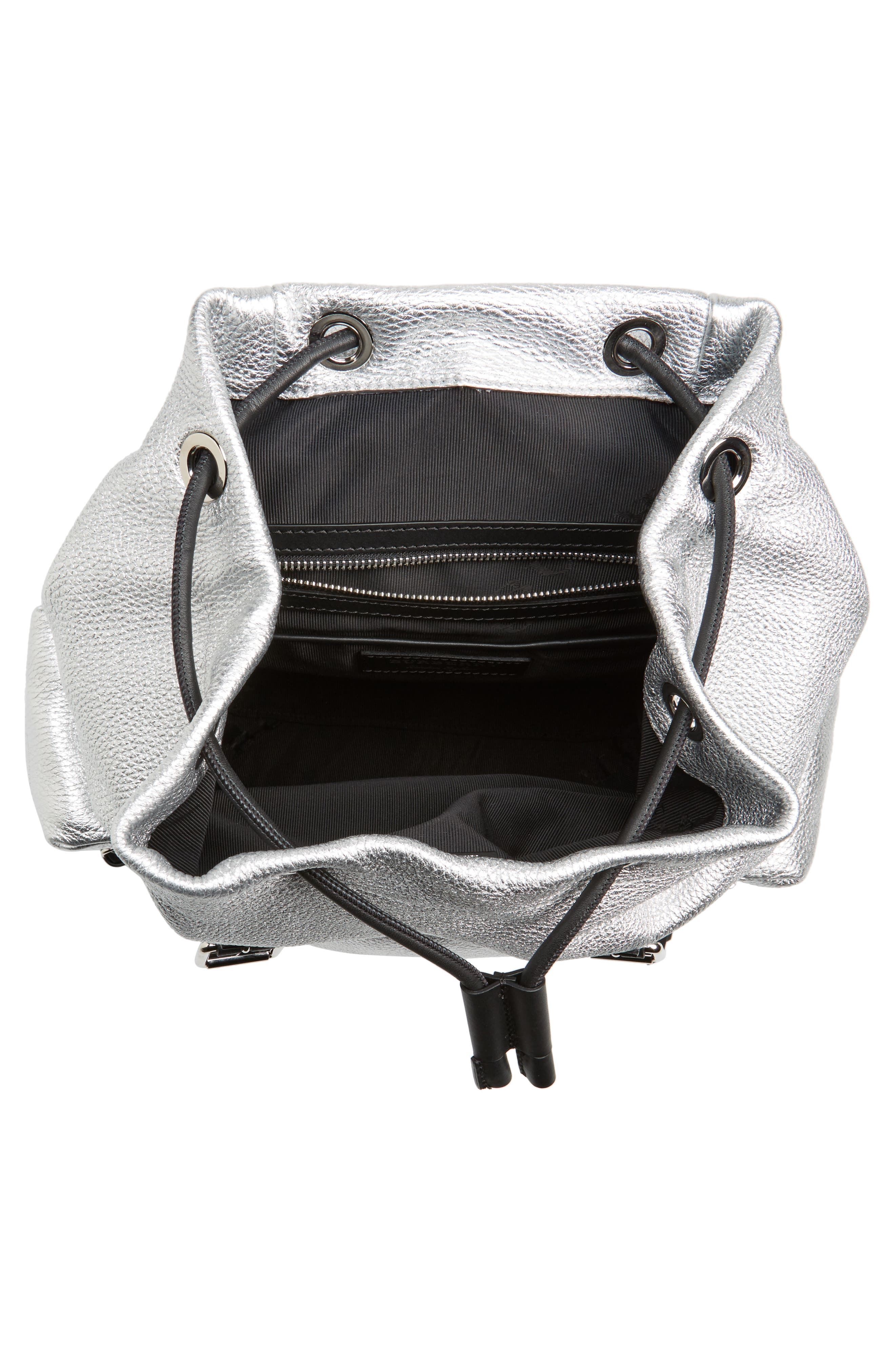 Medium Rucksack Metallic Leather Backpack,                             Alternate thumbnail 4, color,                             Silver