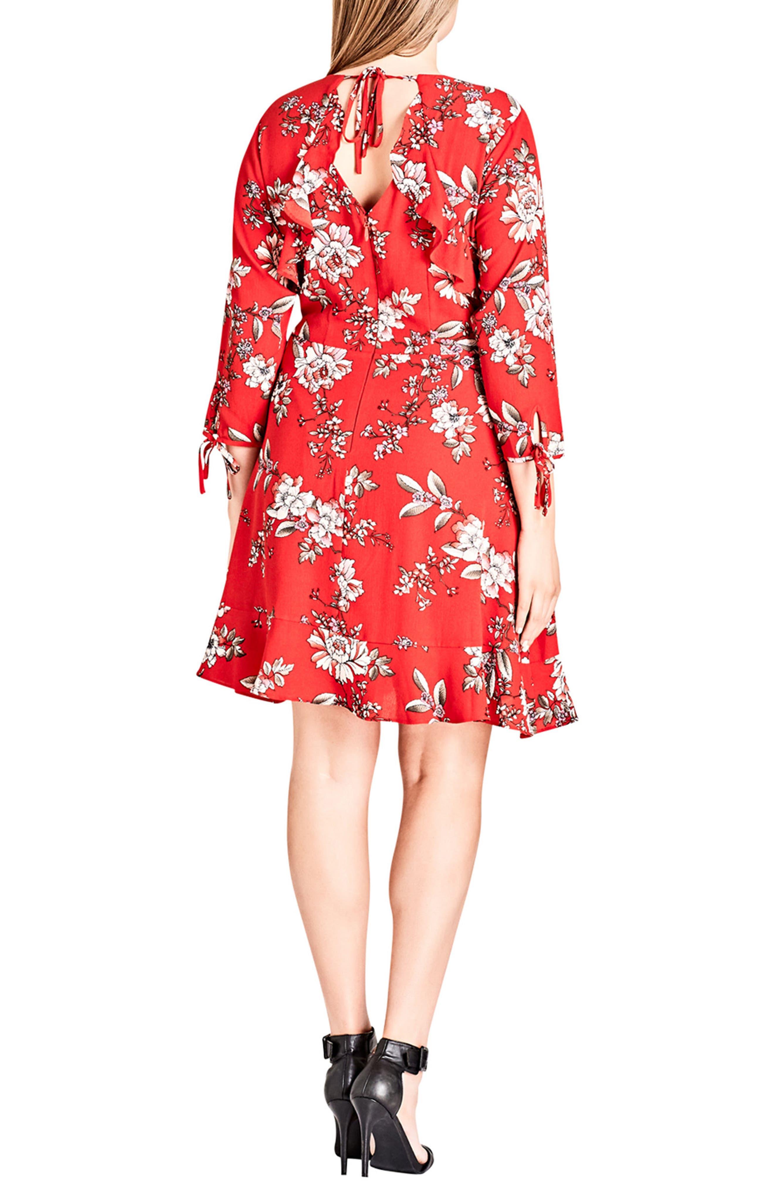 Alternate Image 2  - City Chic Scarlet Floral Fit & Flare Dress (Plus Size)