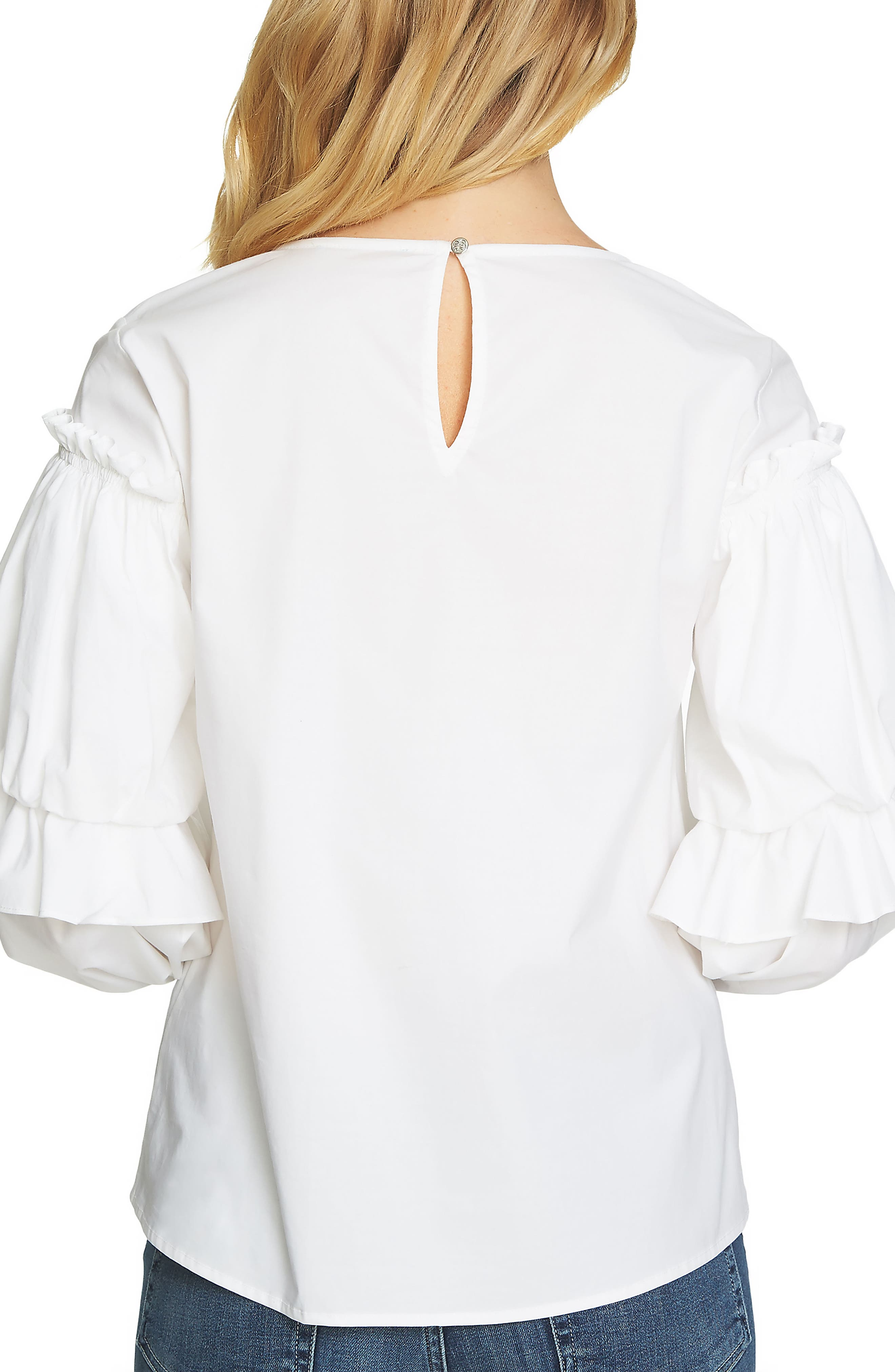 Balloon Sleeve Blouse,                             Alternate thumbnail 2, color,                             Ultra White