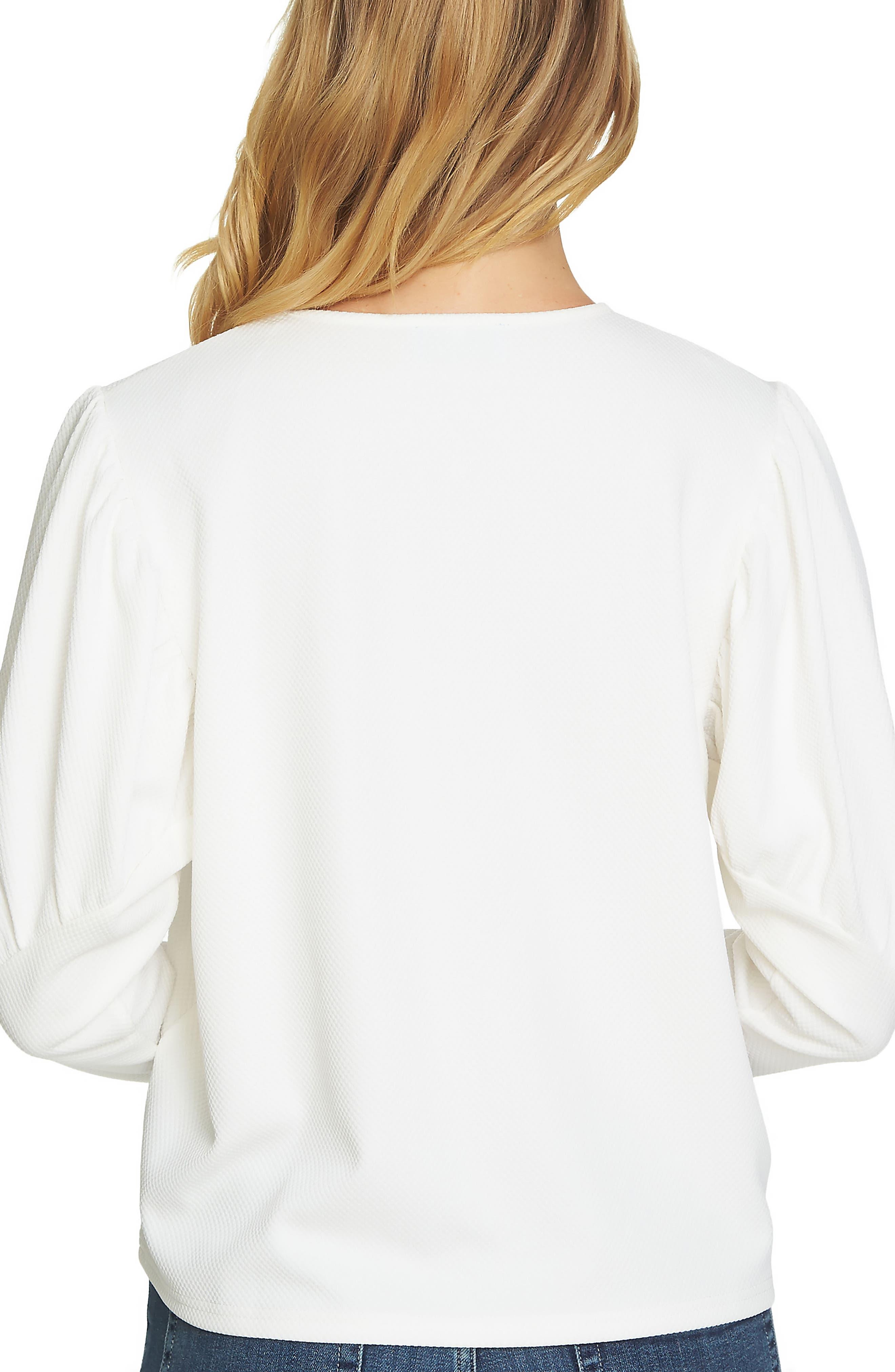 Puffed Shoulder Top,                             Alternate thumbnail 2, color,                             Antique White