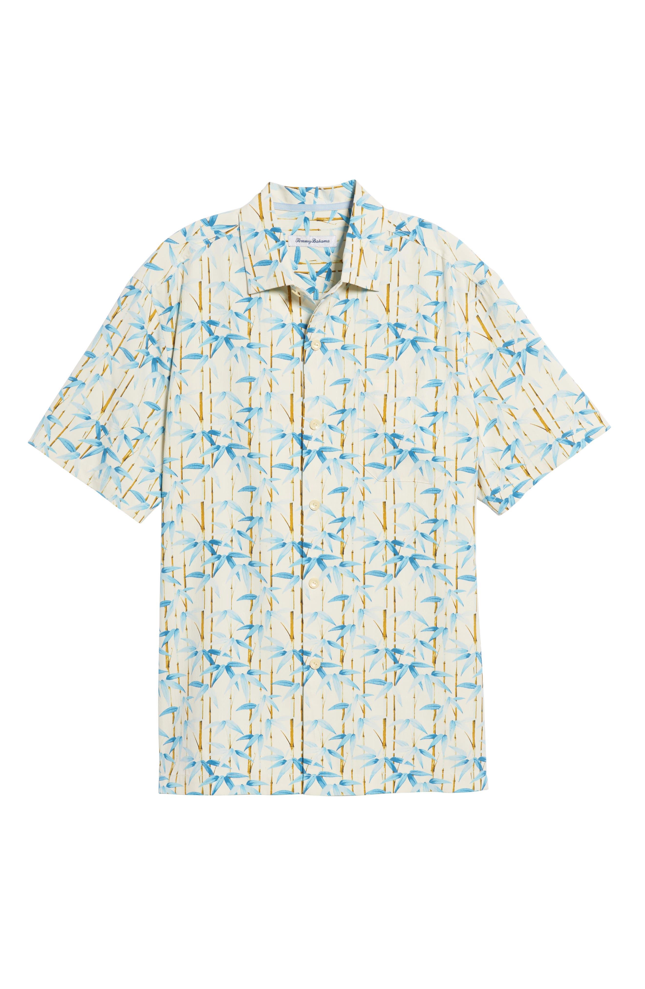Forest Print Silk Sport Shirt,                             Alternate thumbnail 6, color,                             Coconut Cream