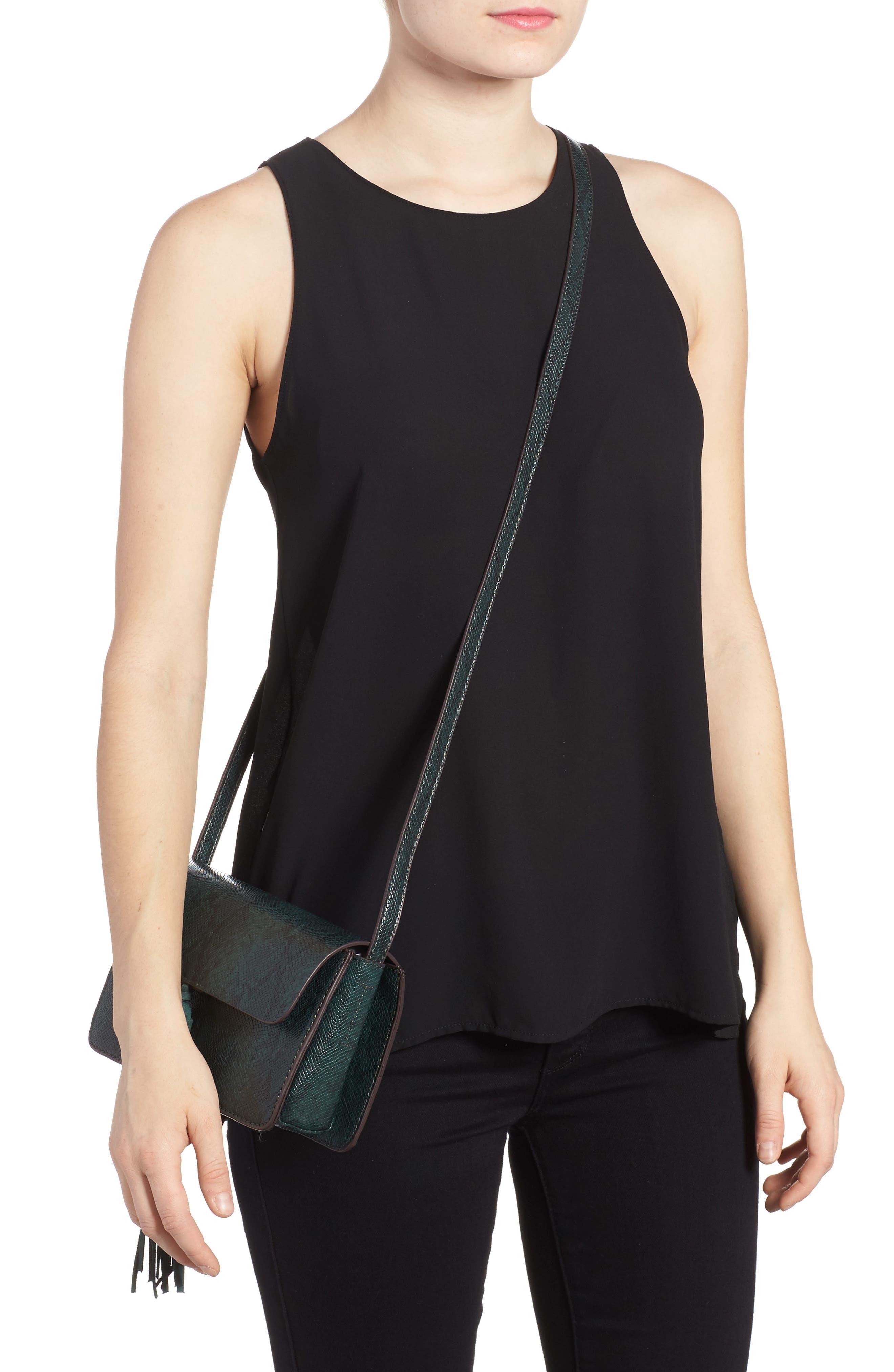 Alternate Image 2  - Street Level Snake Embossed Faux Leather Crossbody Bag