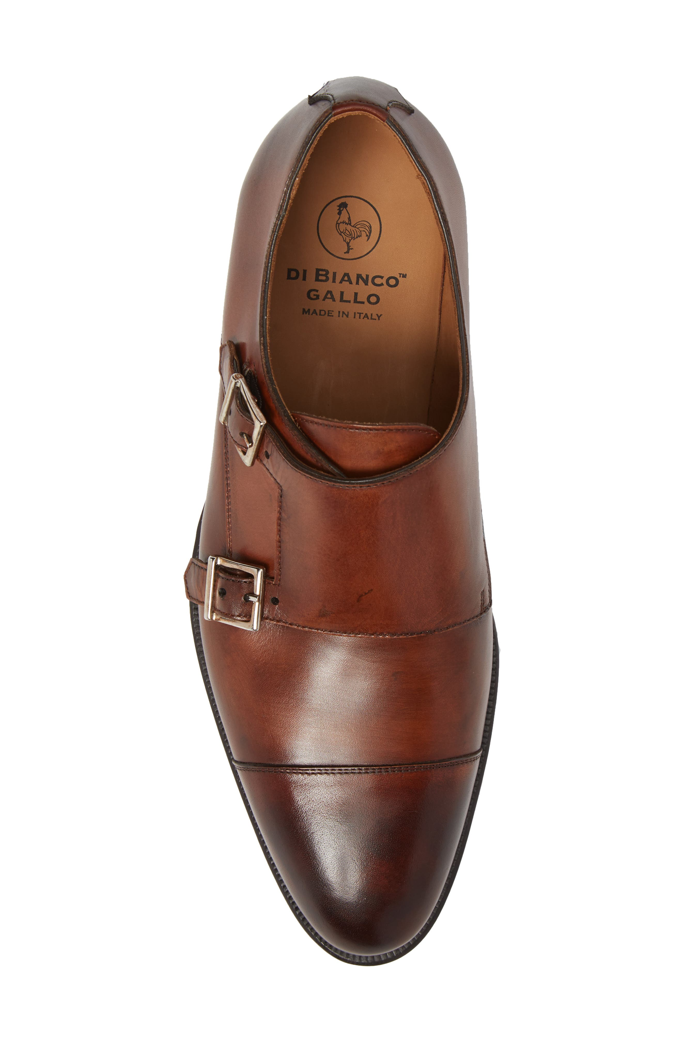 Gallo Bianco Double Monk Strap Shoe,                             Alternate thumbnail 5, color,                             Marble Brown