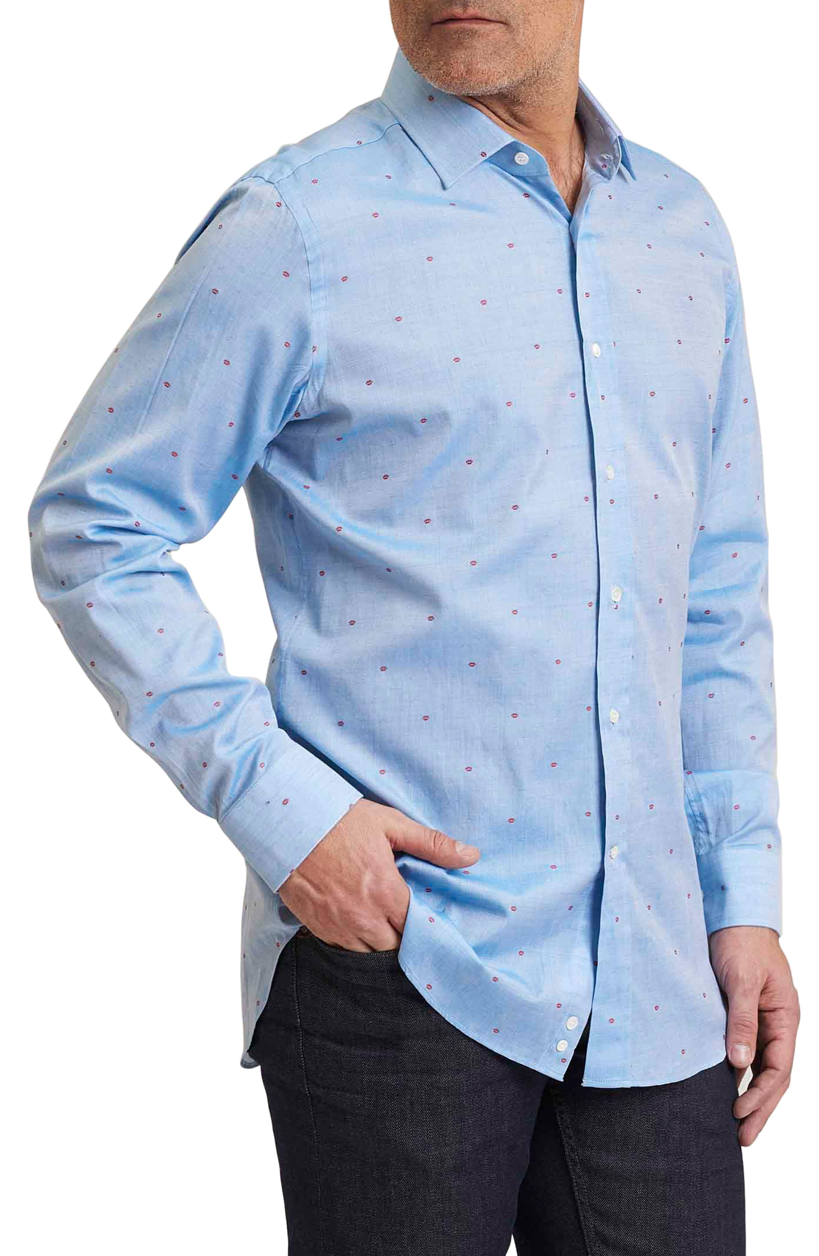 Sweet Lips Regular Fit Embroidered Sport Shirt,                             Main thumbnail 1, color,                             Blue