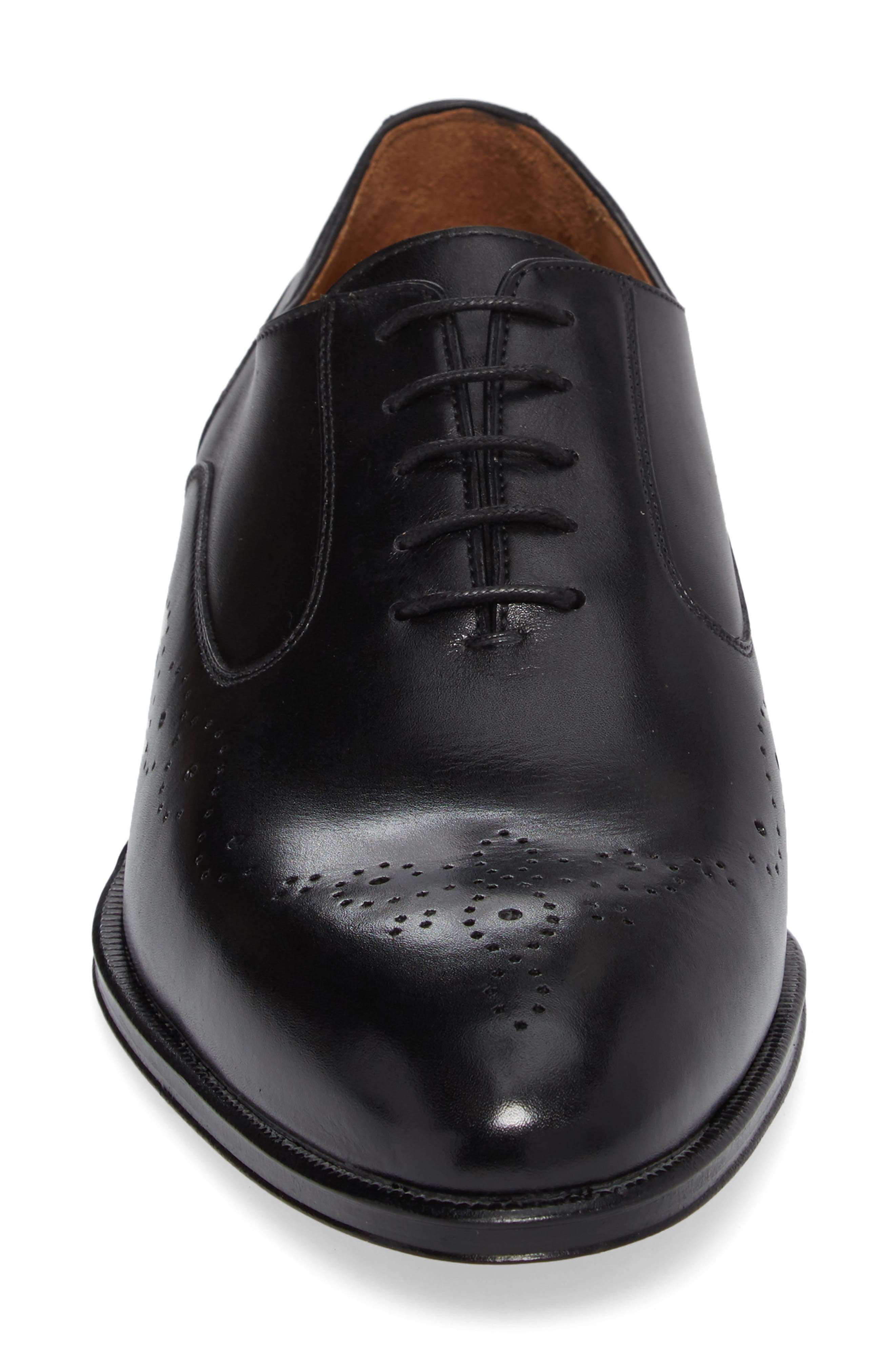 Medallion Toe Oxford,                             Alternate thumbnail 4, color,                             Nero
