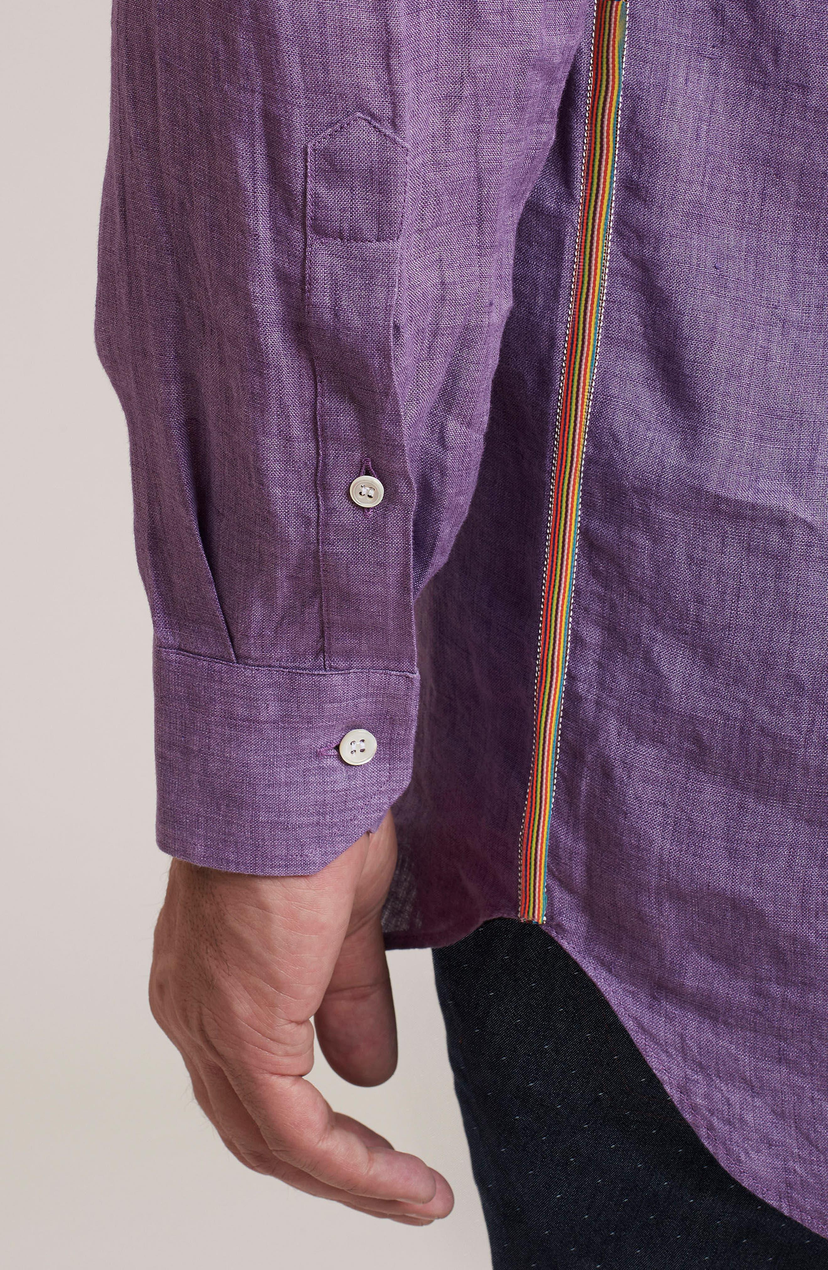 Delave Regular Fit Linen Sport Shirt,                             Alternate thumbnail 4, color,                             Purple