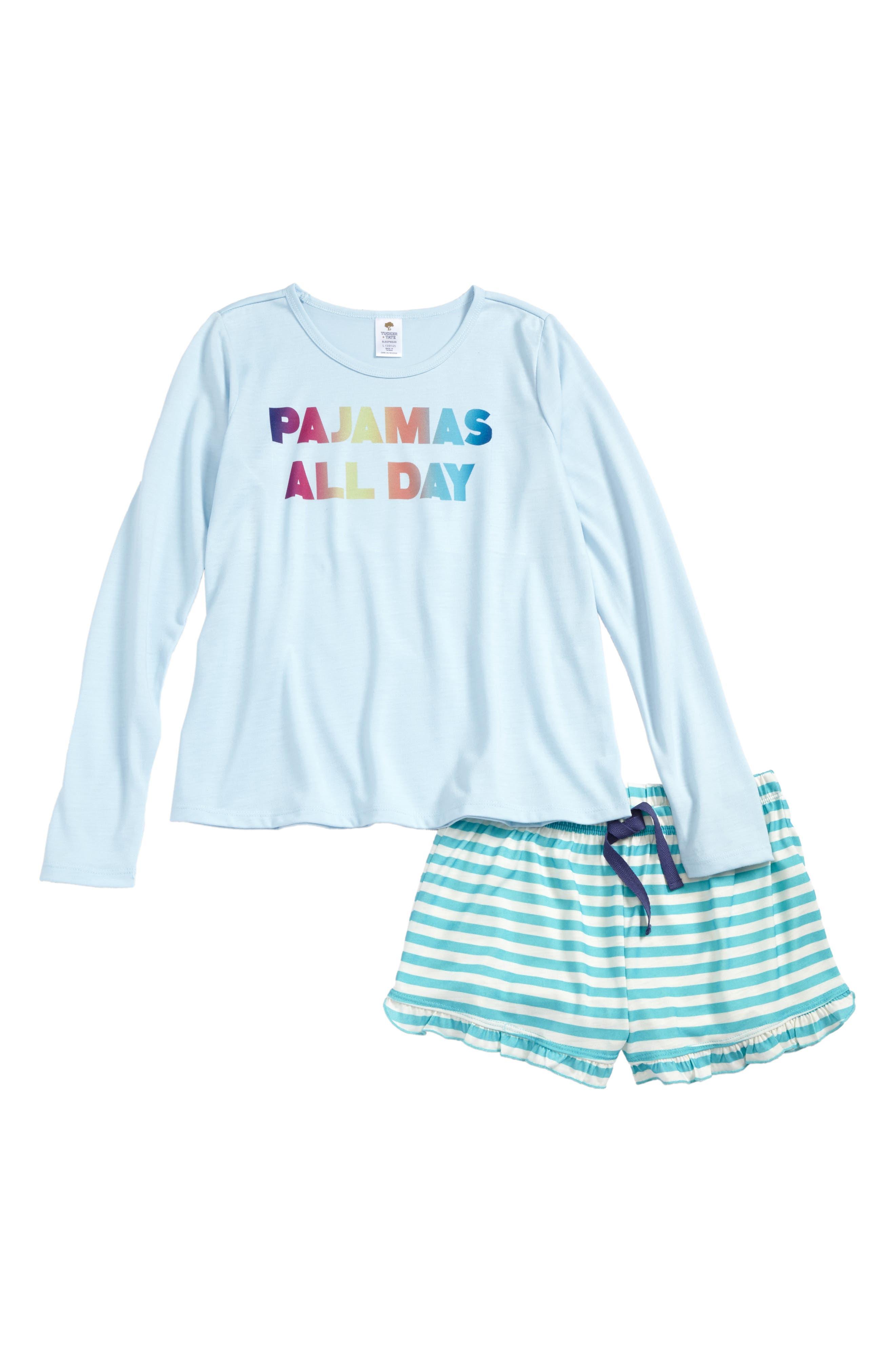 Graphic Print Two-Piece Pajamas,                             Main thumbnail 1, color,                             Blue Omphalodes Pajamas