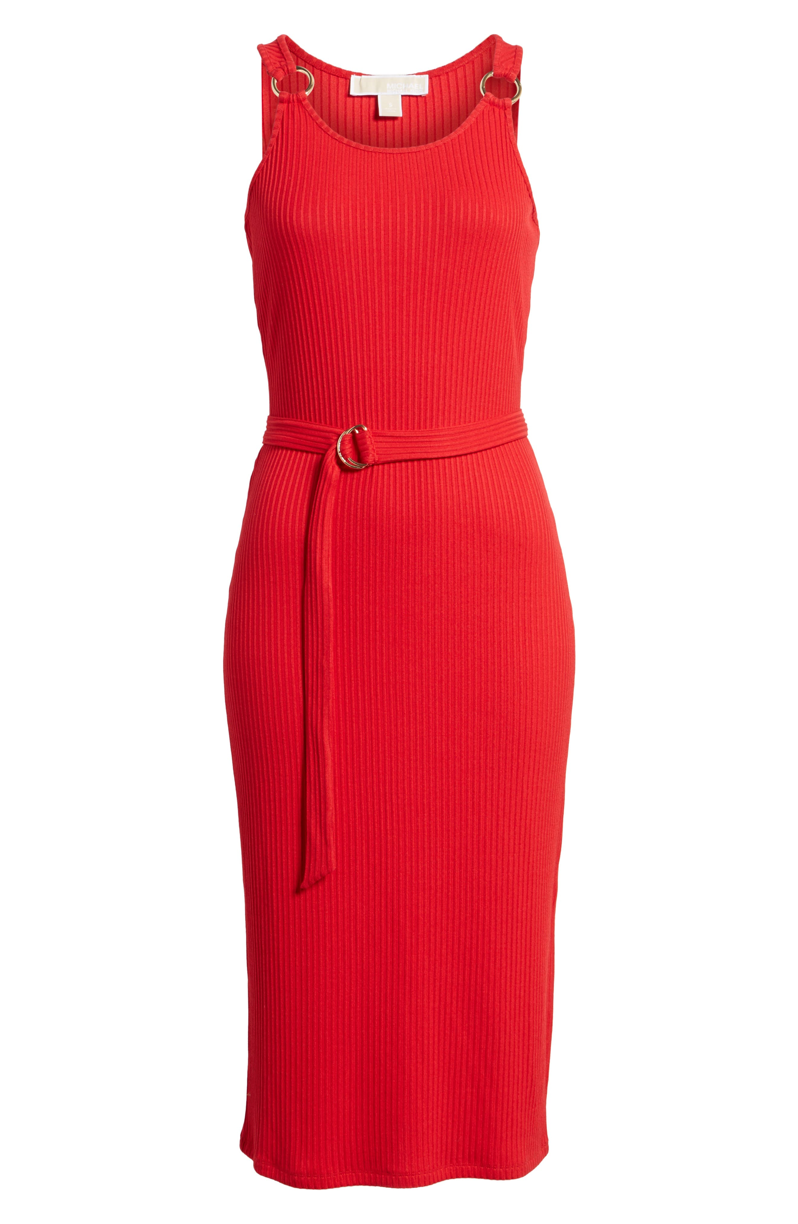 Ribbed Circle Trim Body-Con Dress,                             Alternate thumbnail 6, color,                             True Red