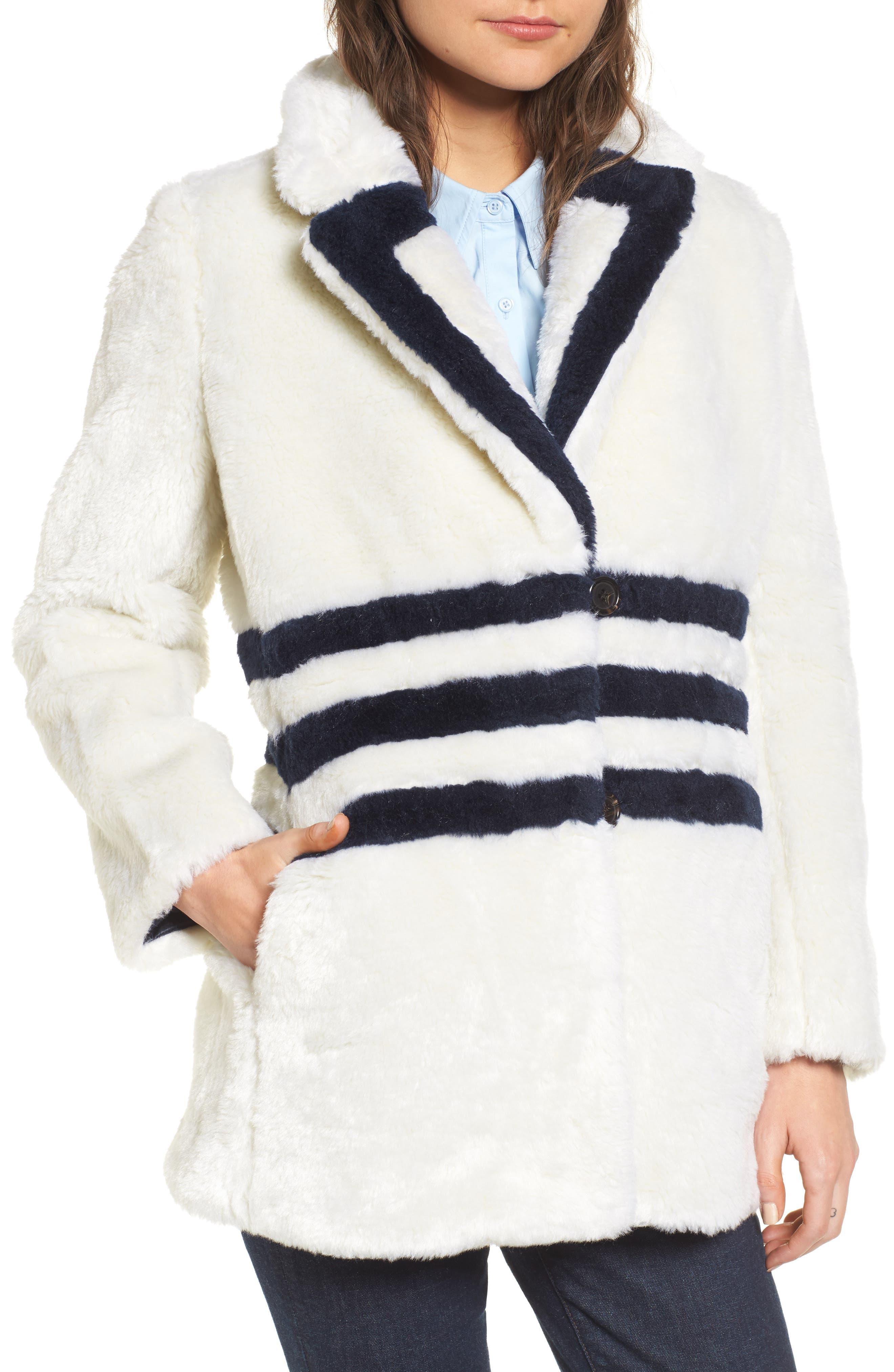 J.Crew Yuna Teddy Faux Fur Jacket,                             Alternate thumbnail 4, color,                             Ivory/ Navy