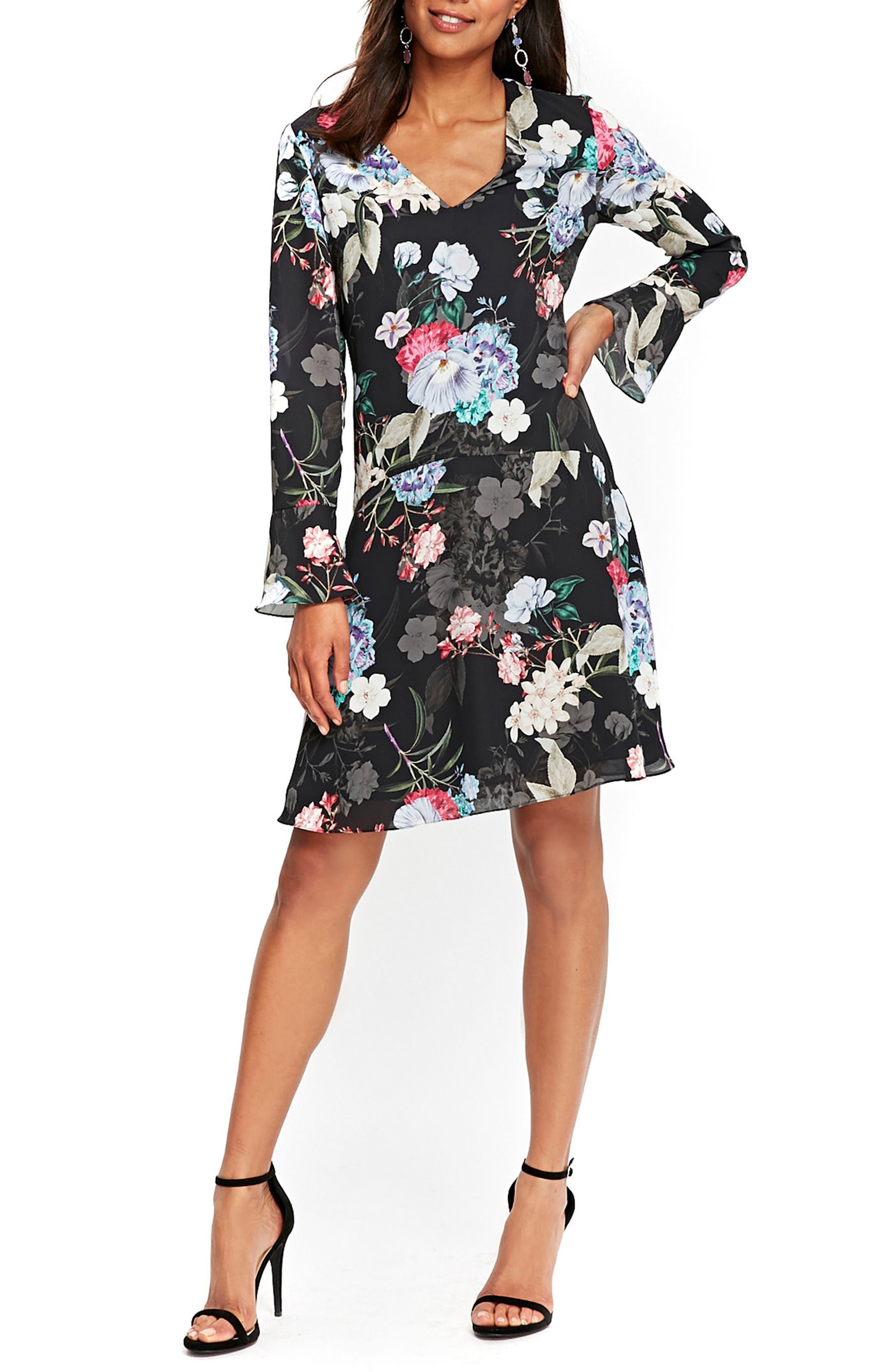 Drop Waist Floral Print Dress,                         Main,                         color, Ink